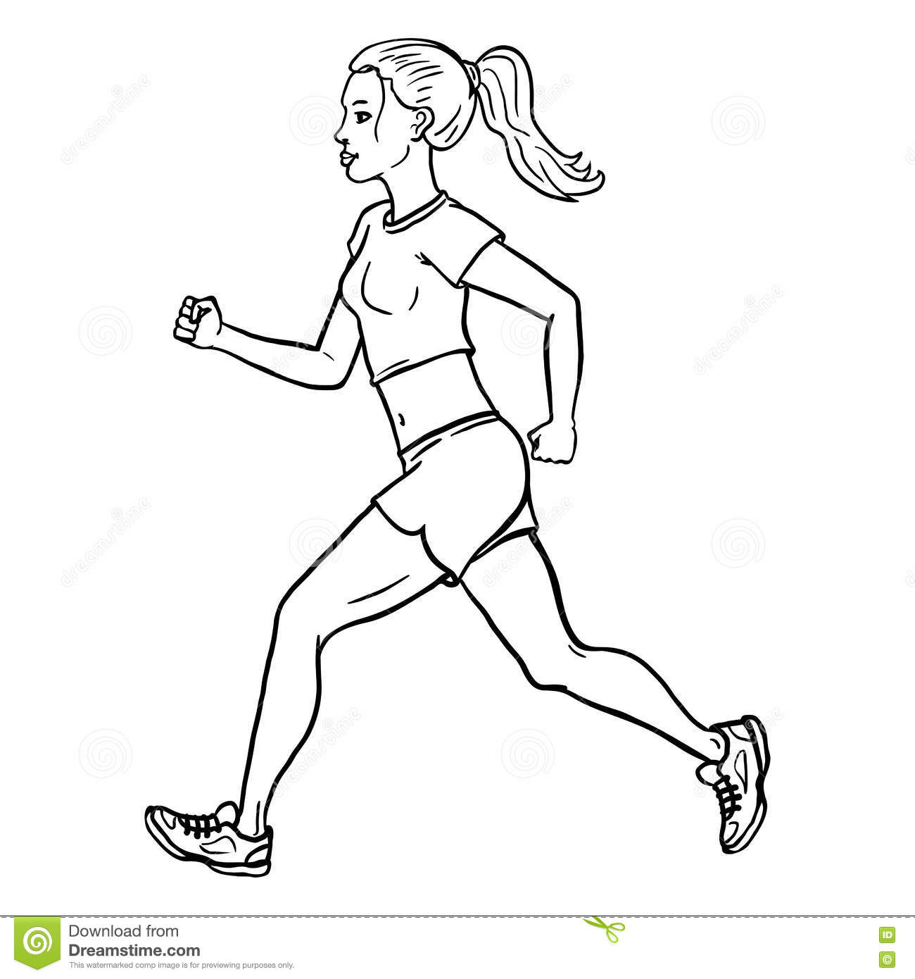Vector Female Character Jogging Young Woman Stock