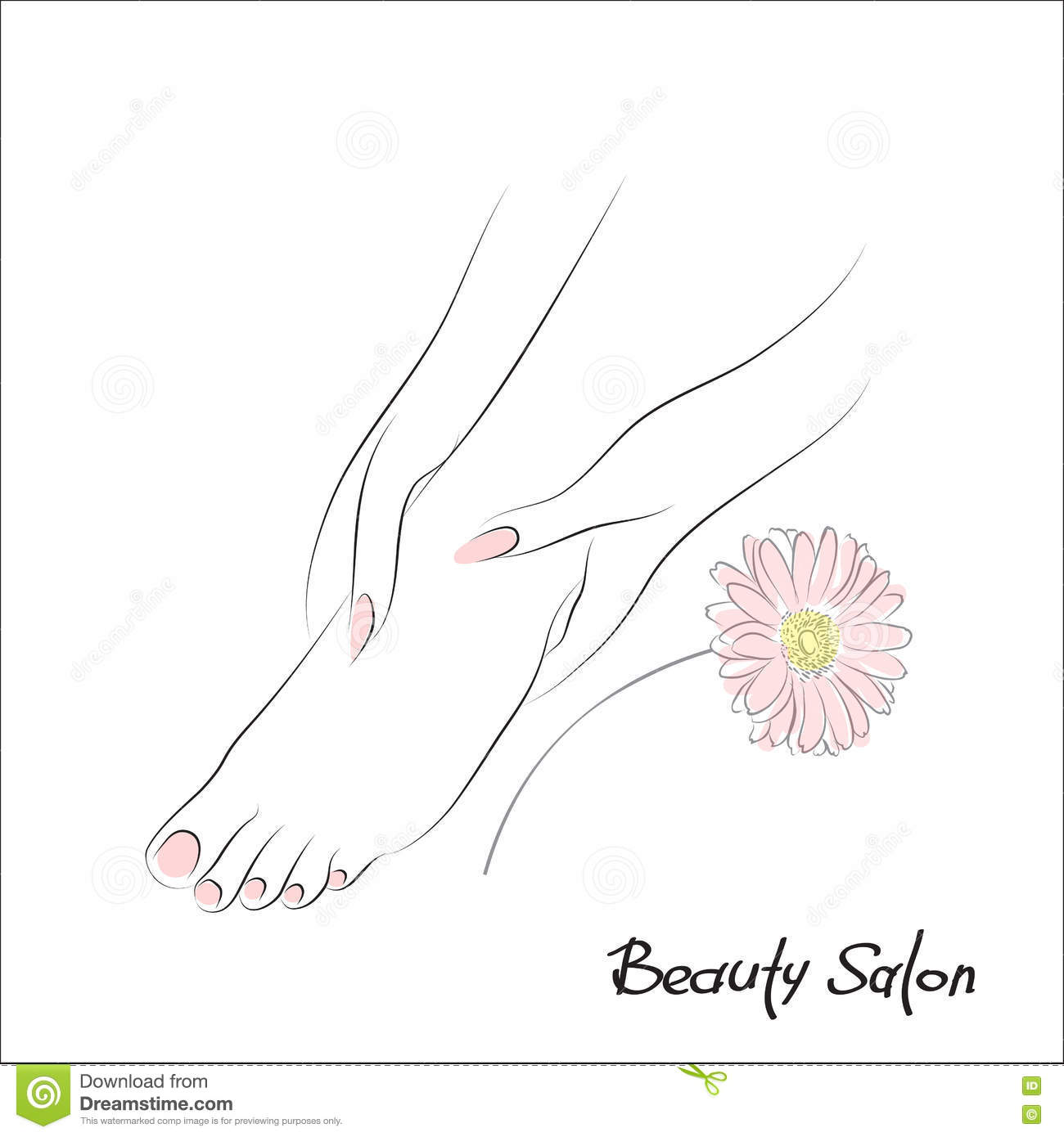 Woman Barefoot With Flower Logo Cartoon Vector