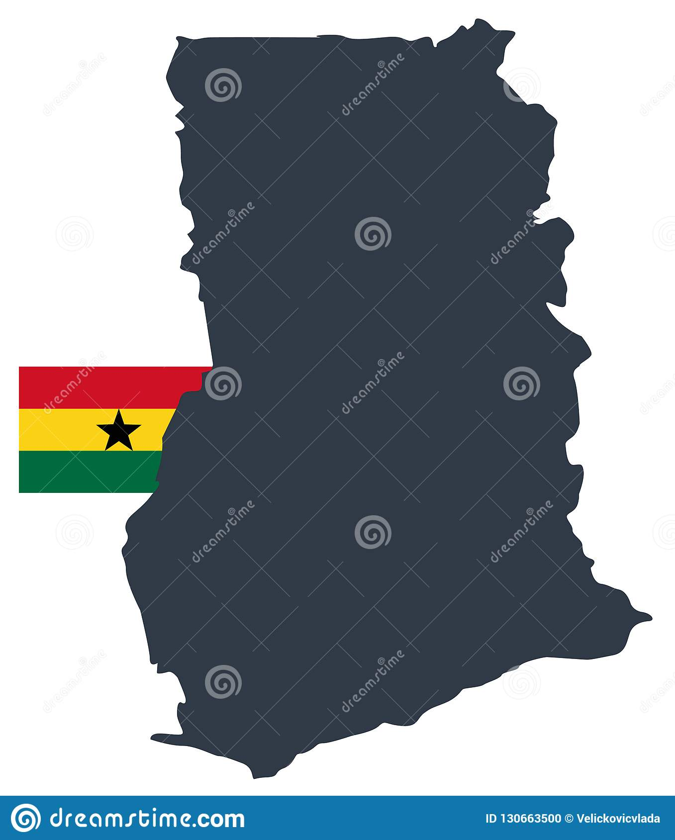 Ghana Flag And Map Country In The West Africa Stock Vector Illustration Of Africa Topography 130663500