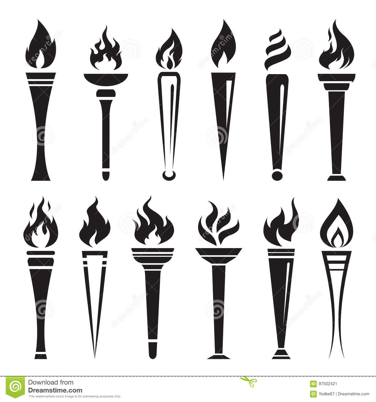 Vector Of Fire Torch Victory Champion On White Background