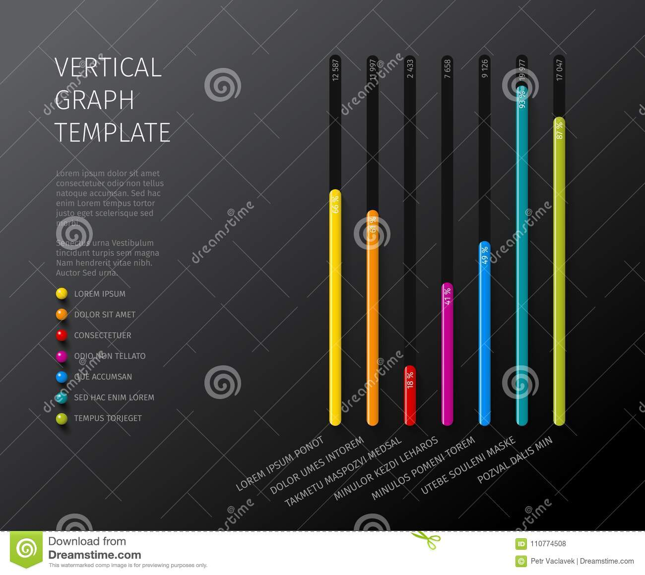 Vector Column Vertical Graph Template Stock Vector