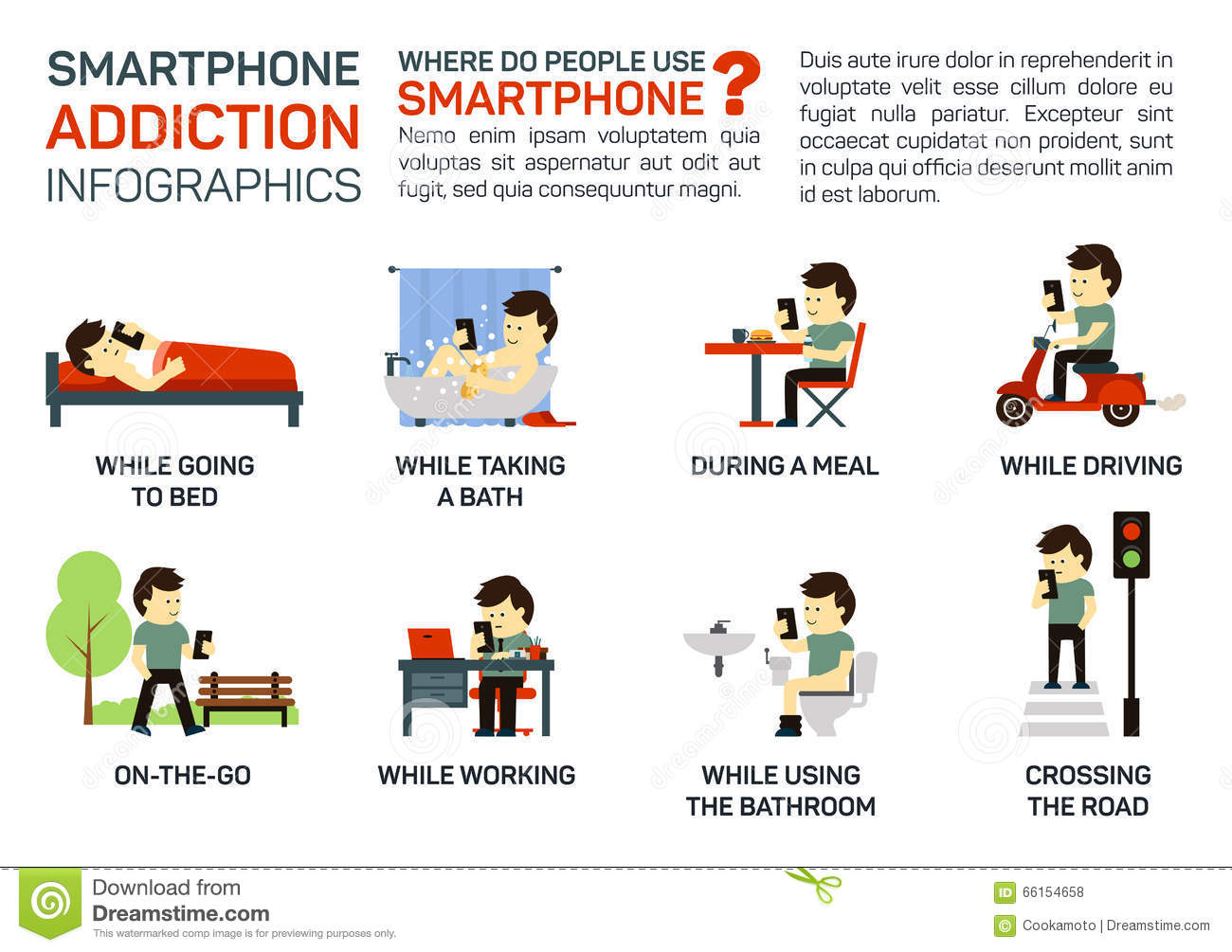 Vector Flat Illustration Of Smartphone Addiction Danger