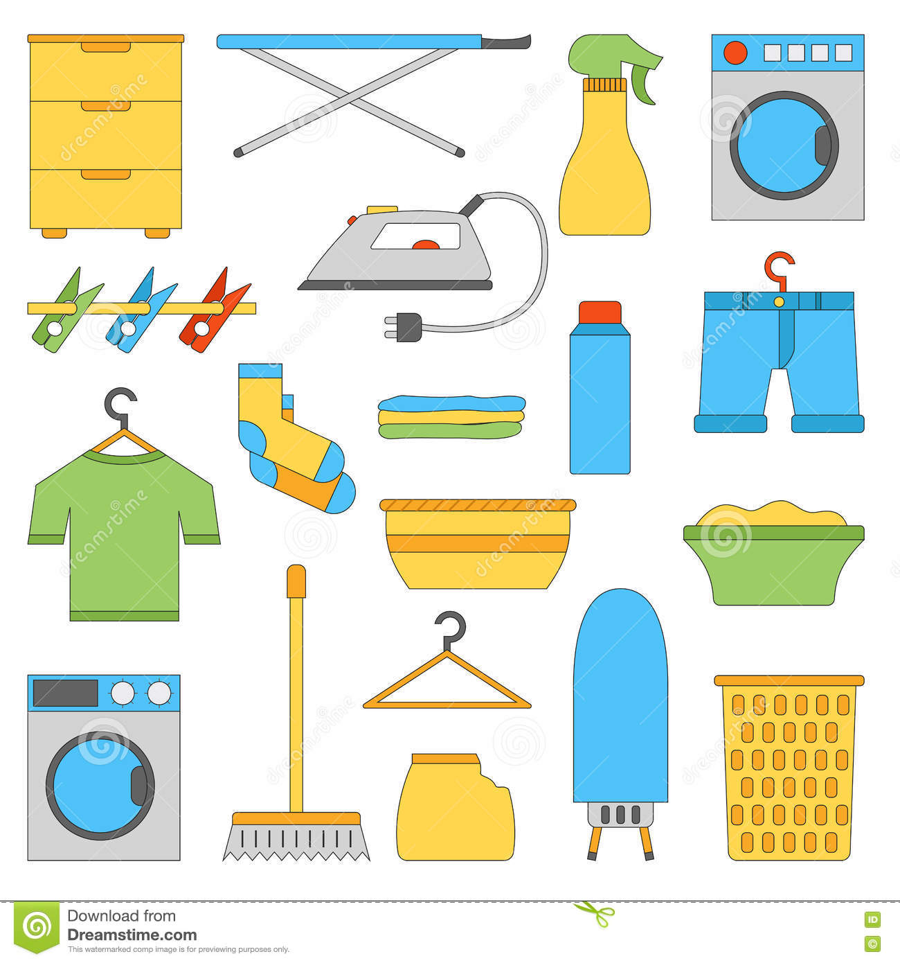 Vector Set Laundry Room Labels And Icons Cartoon Vector