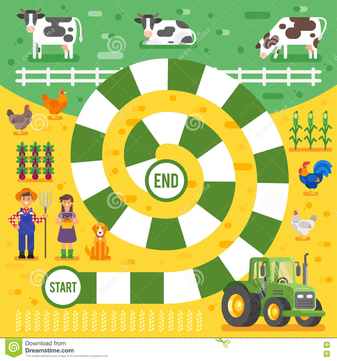 Vector Flat Style Illustration Of Kids Farm Board Game