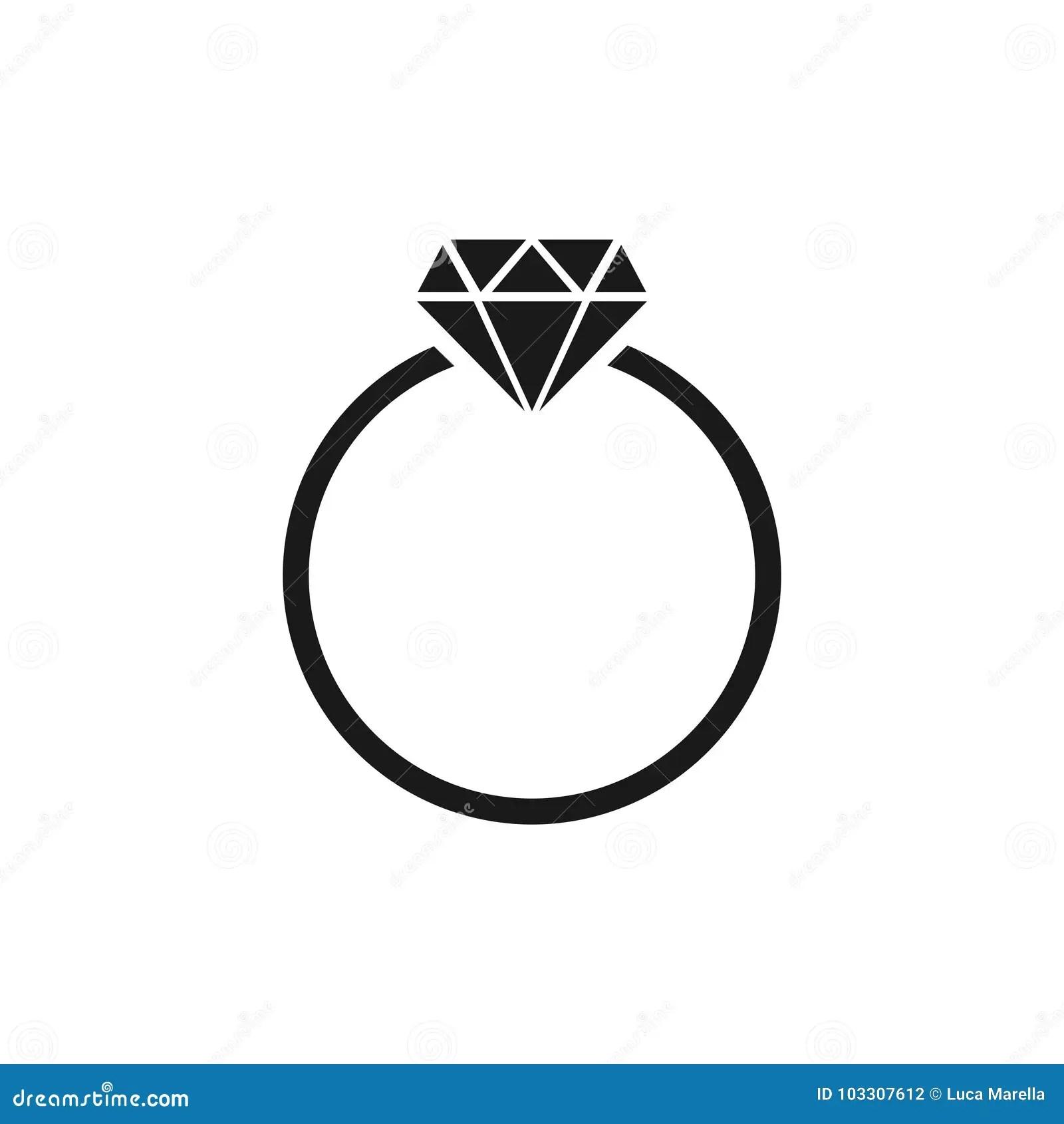 Diamond Ring Icon Stock Vector Illustration Of Carat