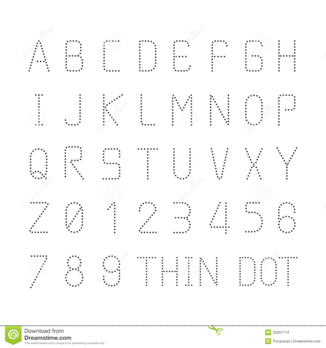 Vector Font Thin Dot Alphabet Character Style Design Set