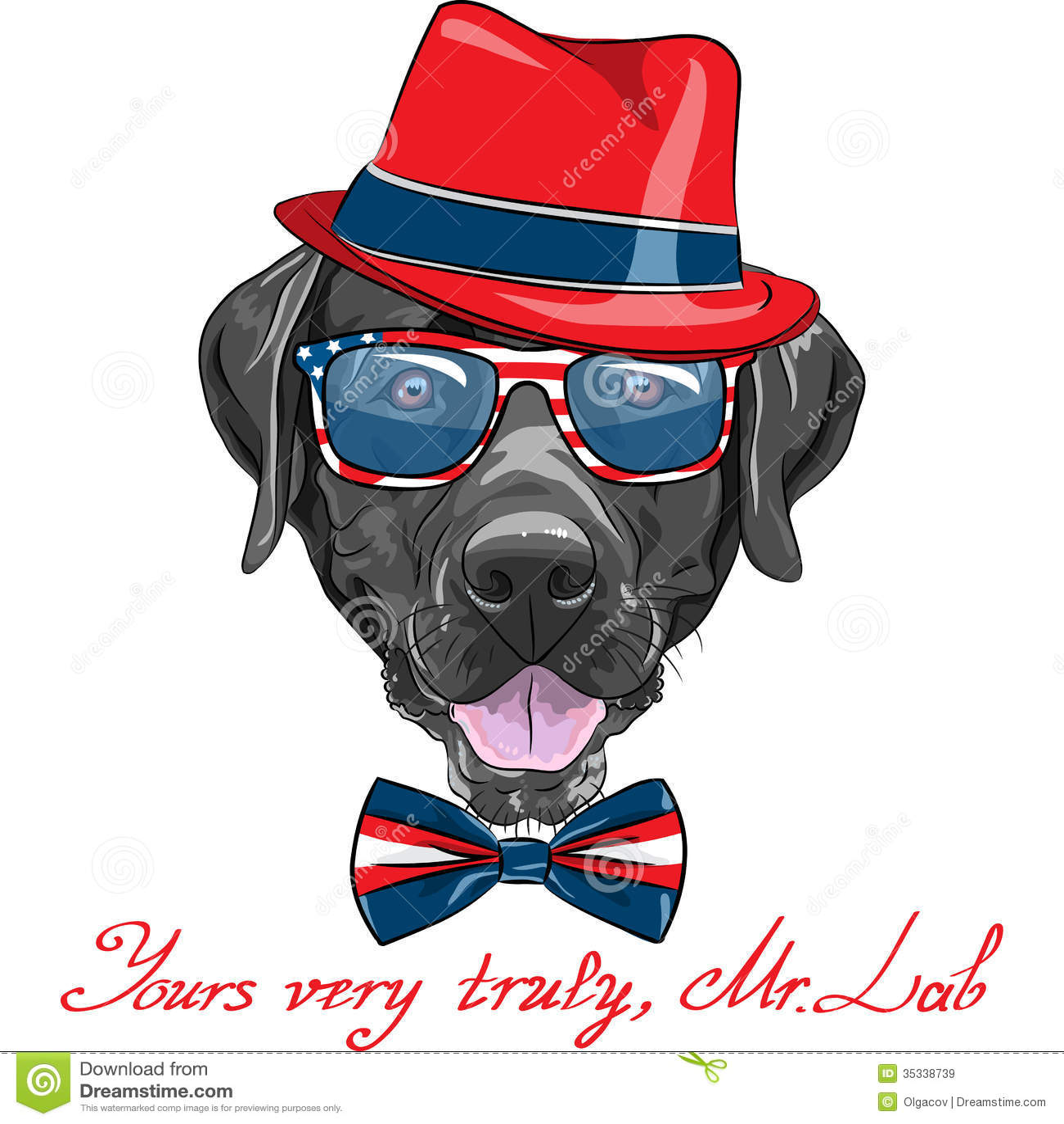 Vector Funny Cartoon Black Dog Breed Labrador Retr Royalty