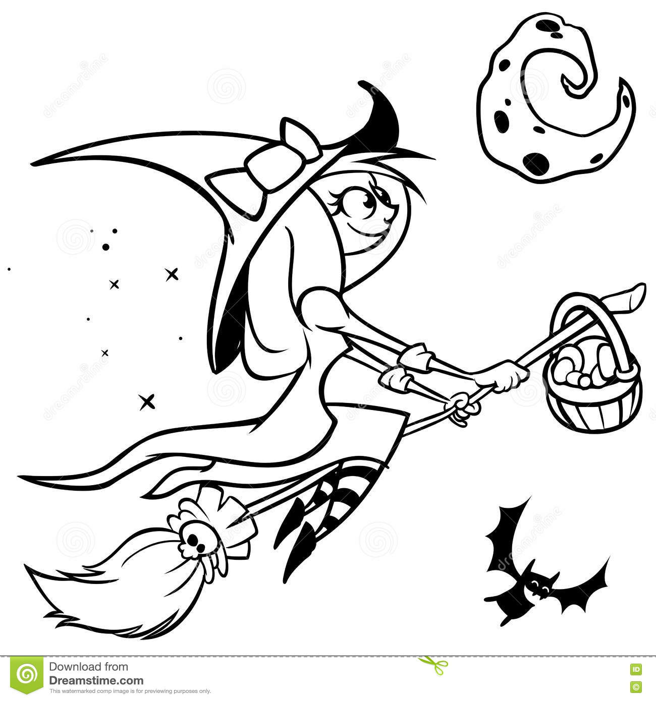 Vector Funny Halloween Witch Flying On Her Broom