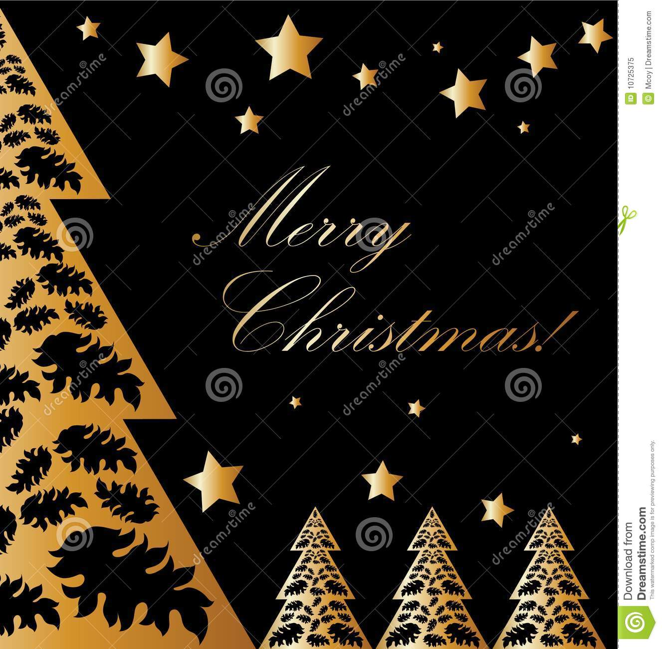 Vector Gold And Black Xmas Card Stock Illustration Image