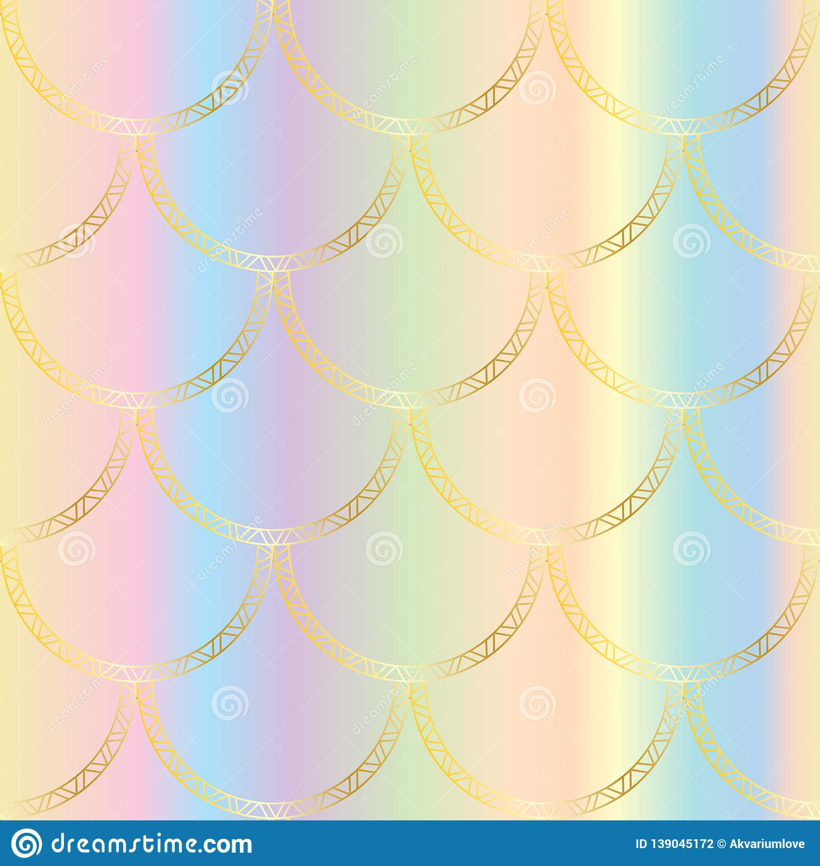 Vector Golden Mermaid Tail Texture Fish Scale Seamless