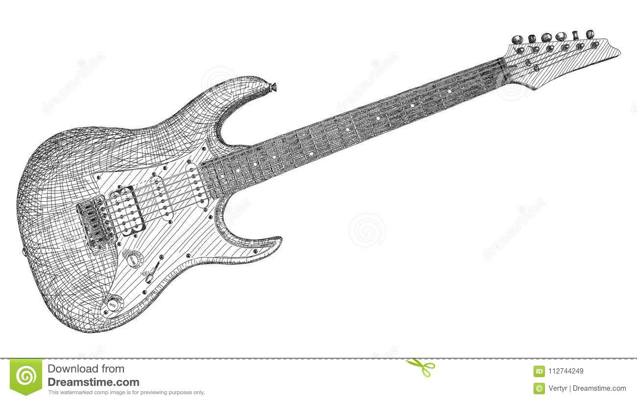 Vector Illustration Drawing Of Electric Guitar Stock
