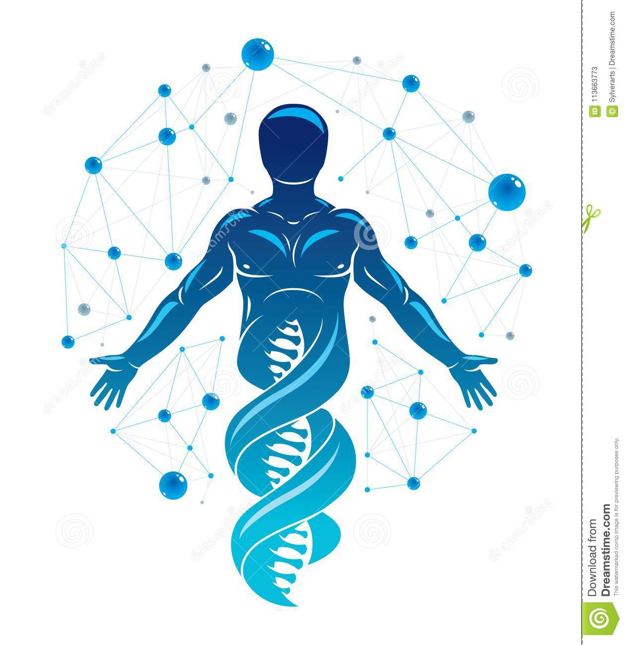 Vector Graphic Illustration Of Human Made As Dna Strands