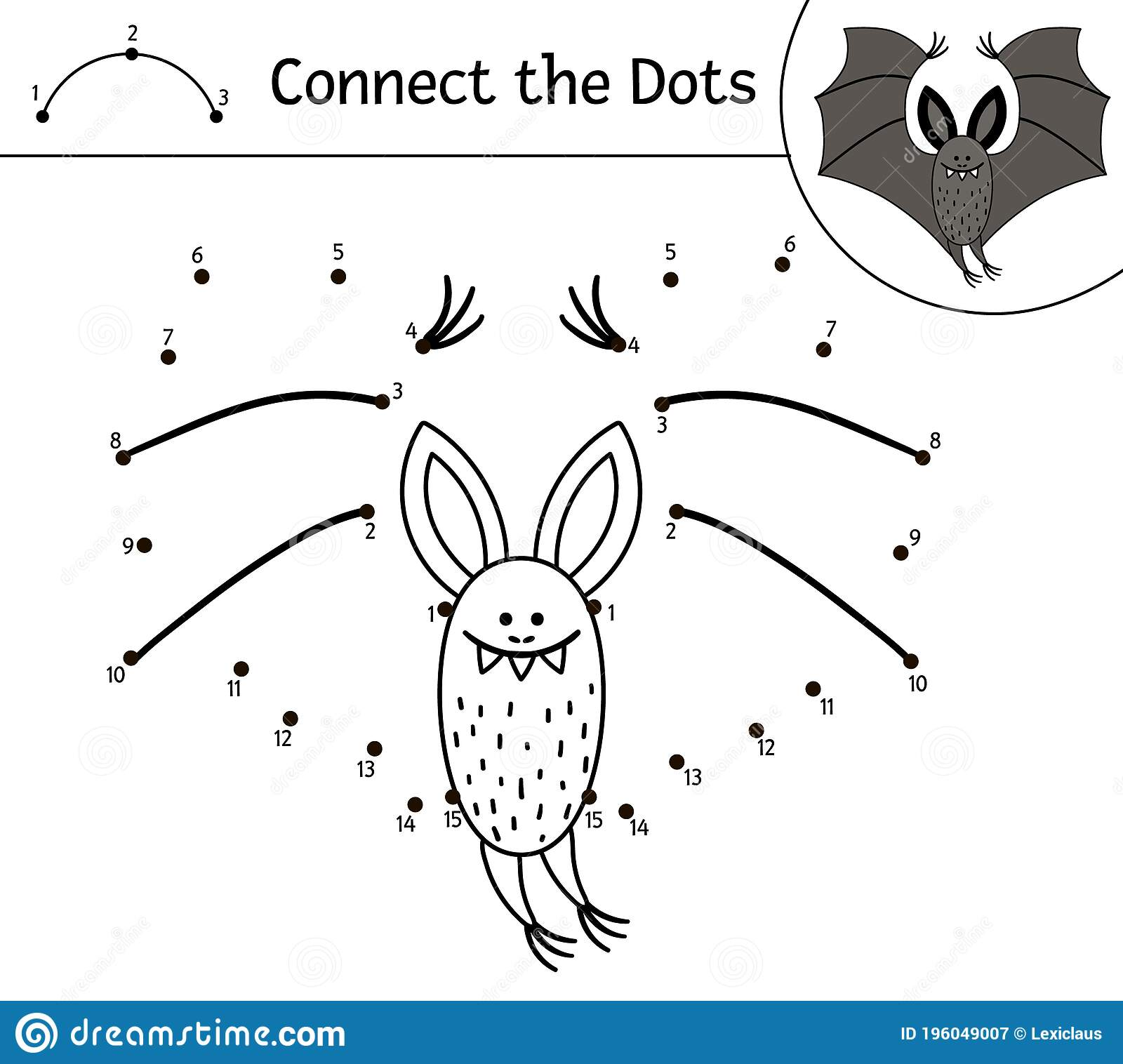 Vector Halloween Dot To Dot And Color Activity With Cute