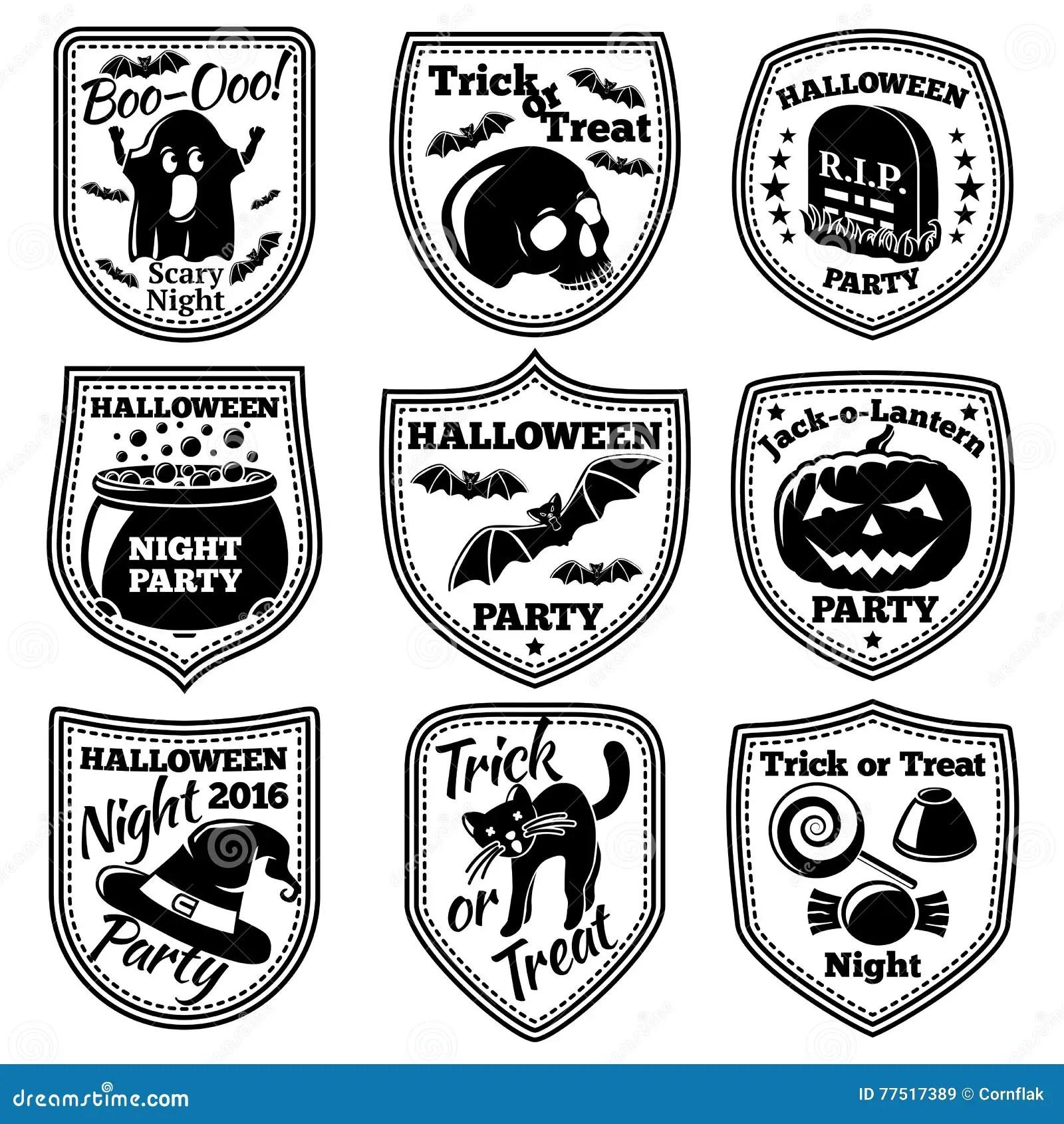 Vector Halloween Labels Set With Pumpkin Skull Ghost