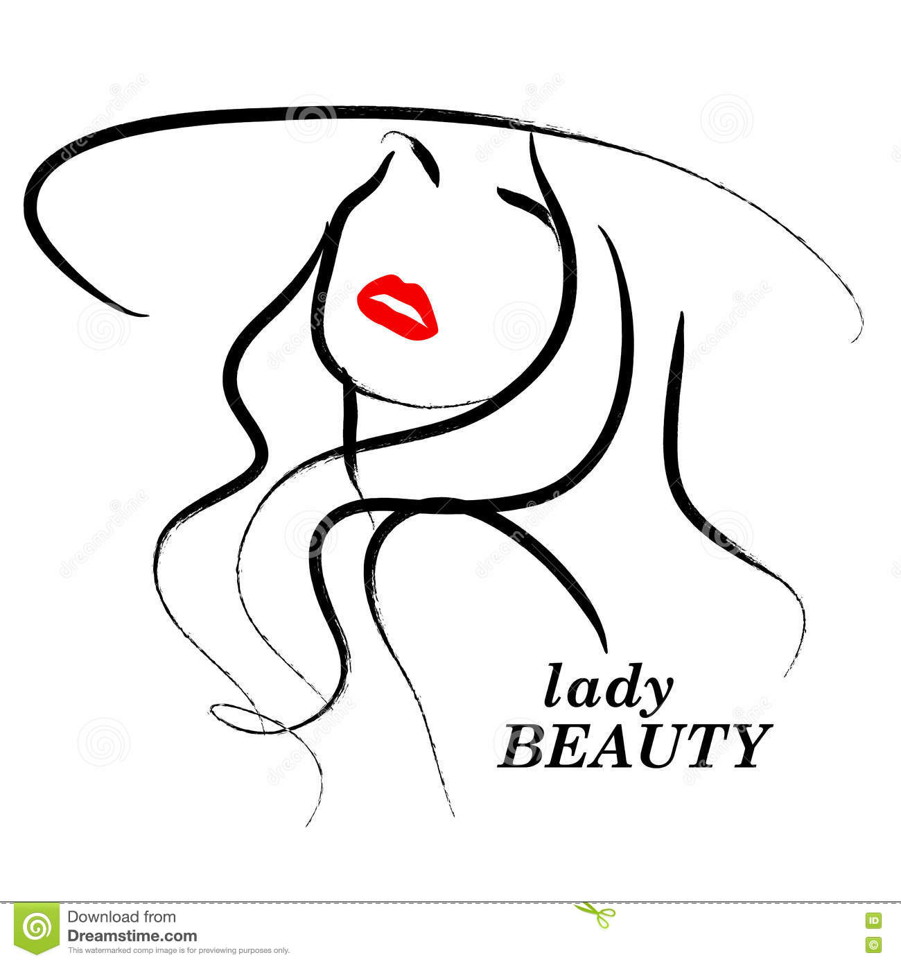 Vector Hand Drawn Beautiful Lady In Hat Portrait Isolated