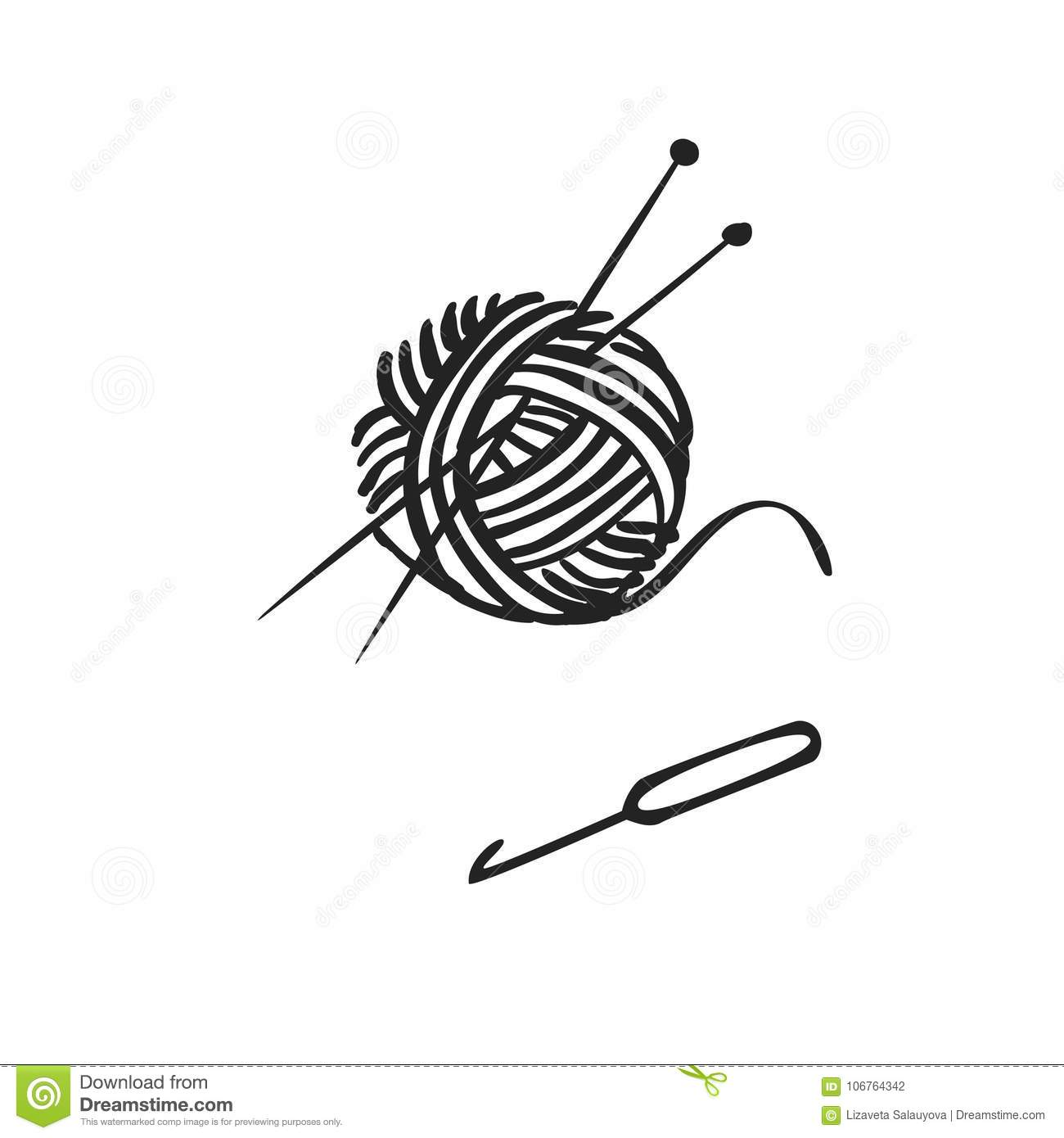 Vector Hand Drawn Icon Of Knitting Stock Vector