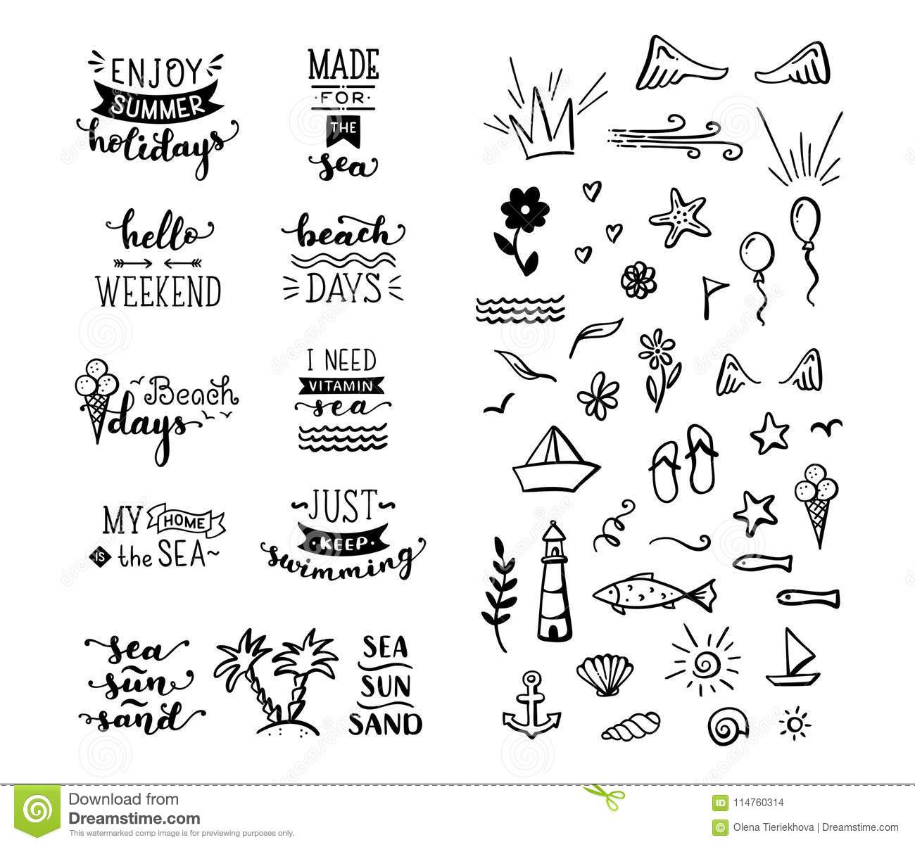 Vector Hand Drawn Lettering And Doodle Clipart On Sea