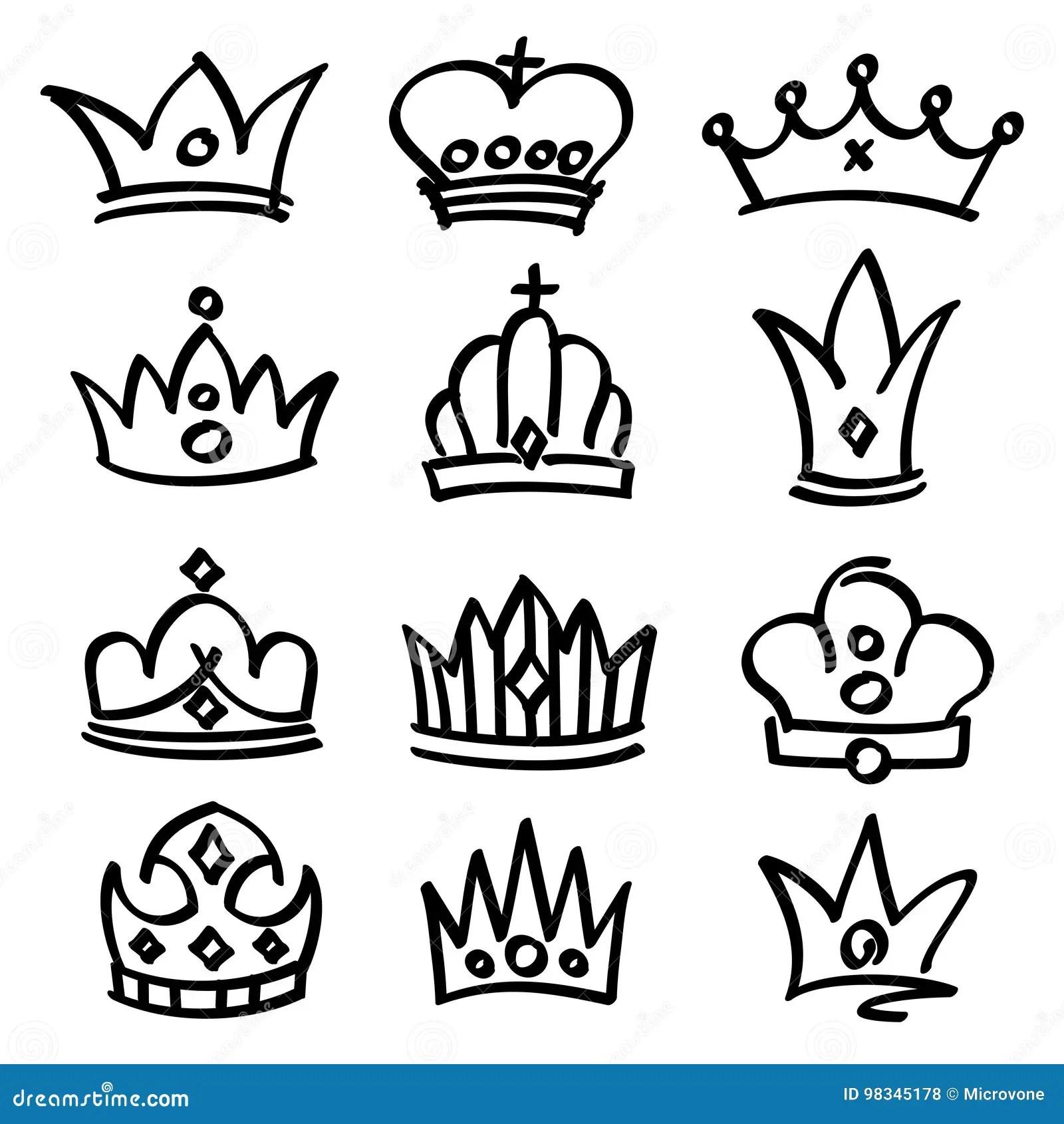 Vector Hand Drawn Princess Crowns Sketch Doodle Royalty