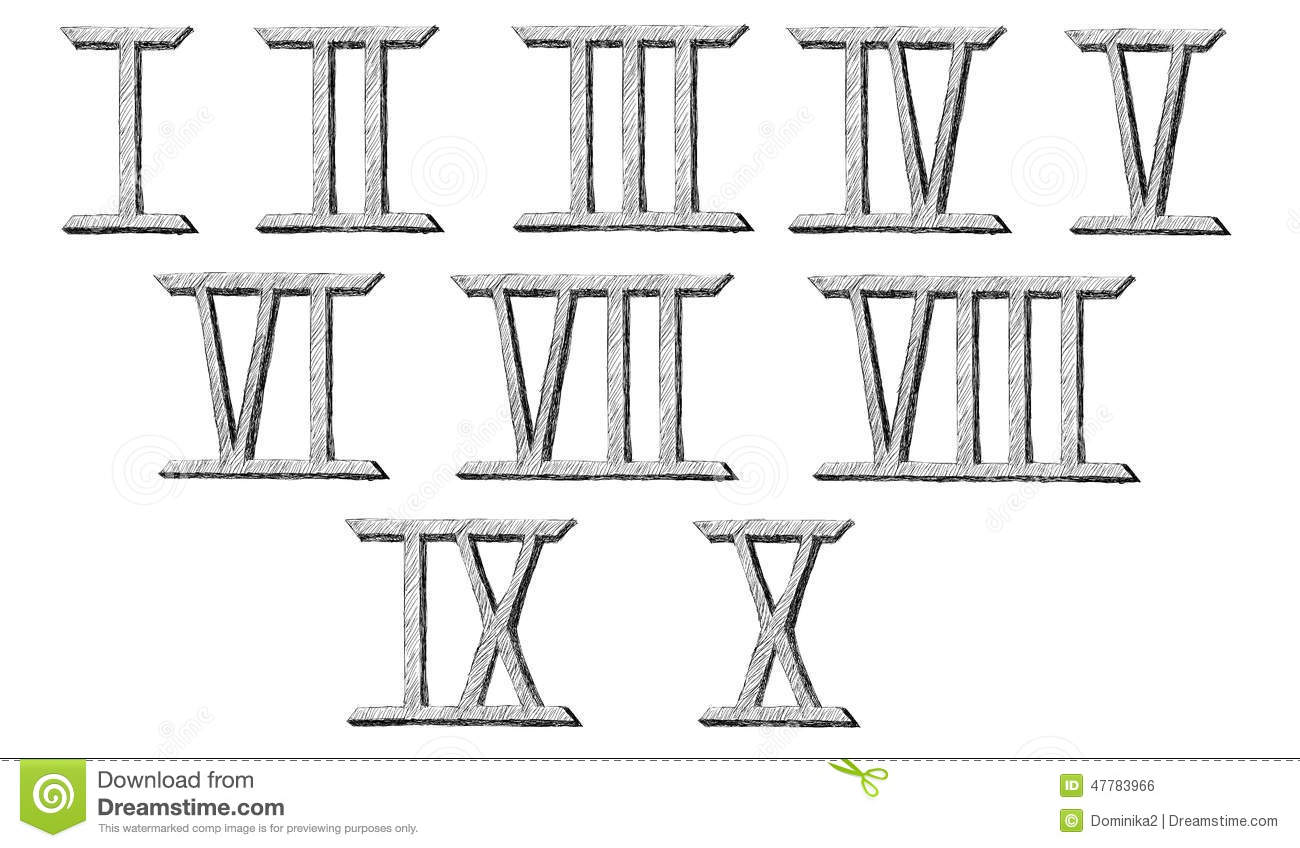 Vector Hand Drawn Roman Numerals Stock Vector