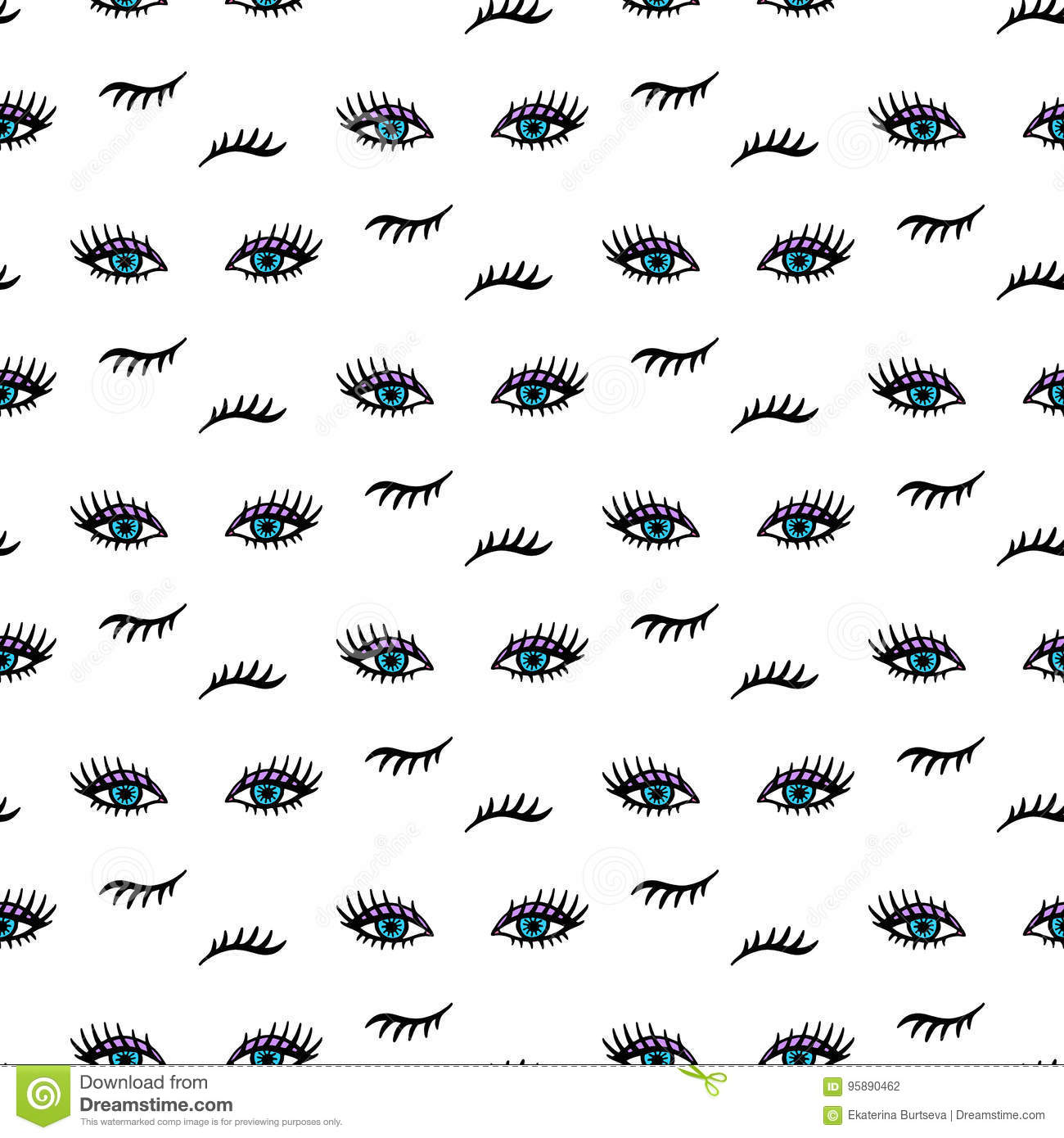 Vector Hand Drawn Seamless Pattern With Open And Winking