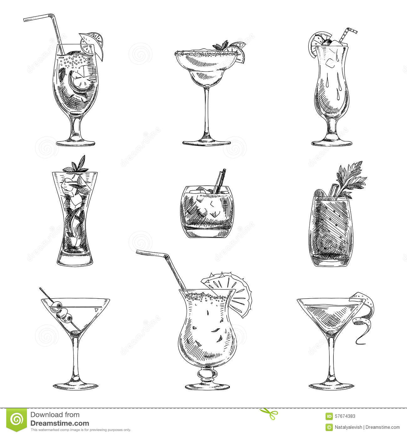 Vector Hand Drawn Set Of Cocktails And Alcohol Stock