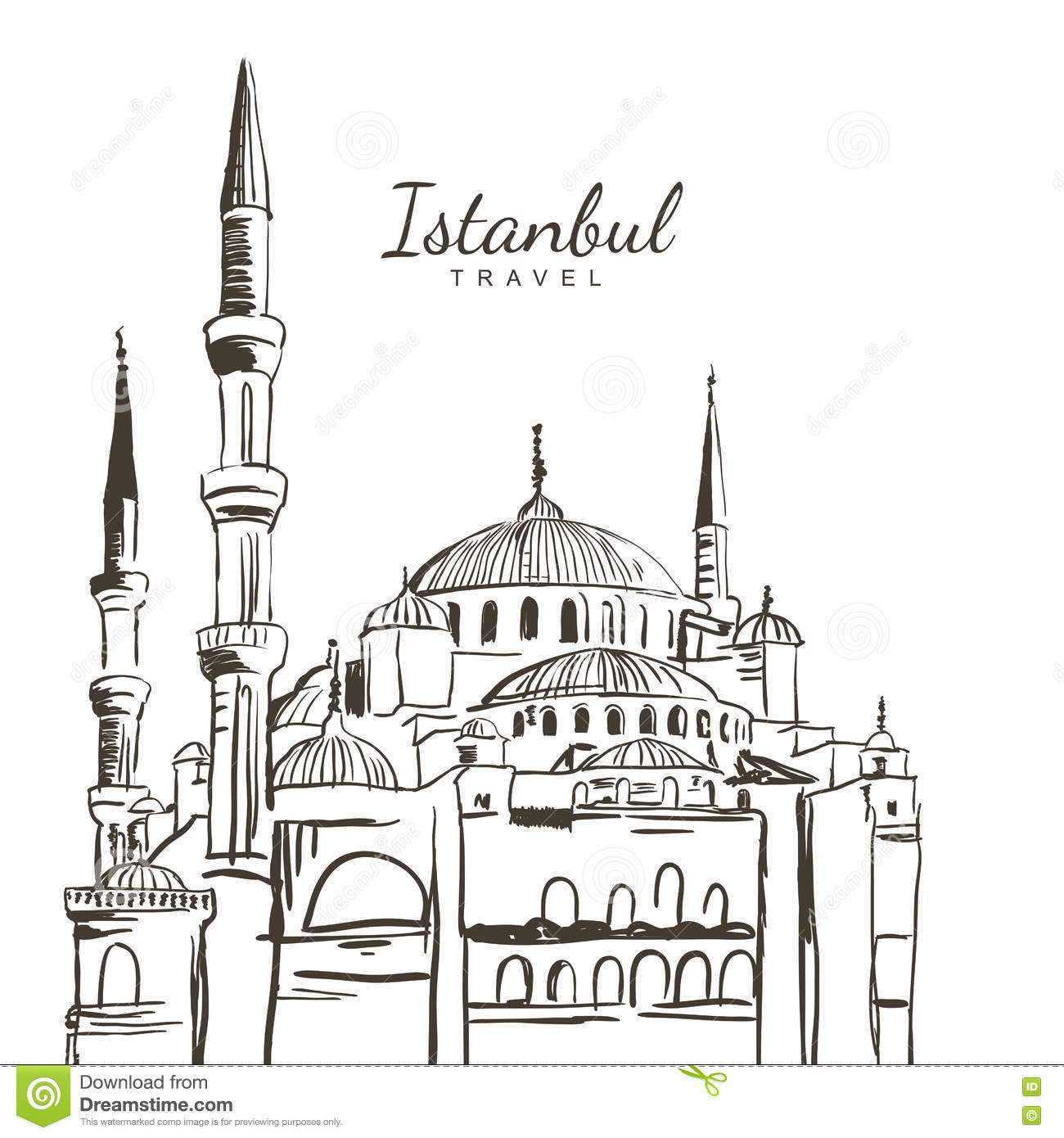 Vector Hand Drawn Sketch Illustration Of Blue Mosque