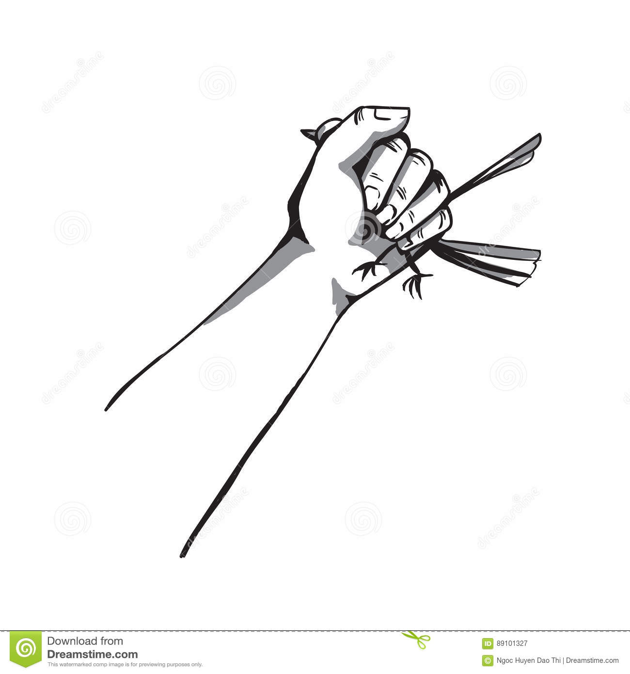 Vector Hand Squeezing A Bird Illustration Isolated On