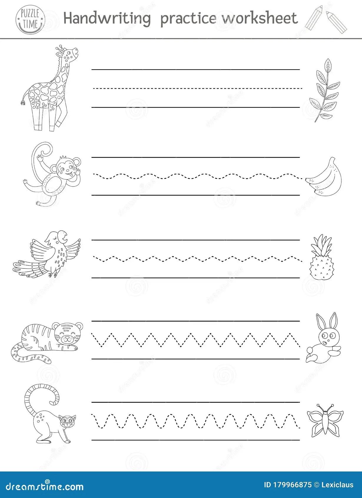Vector Handwriting Practice Worksheet Printable Black And