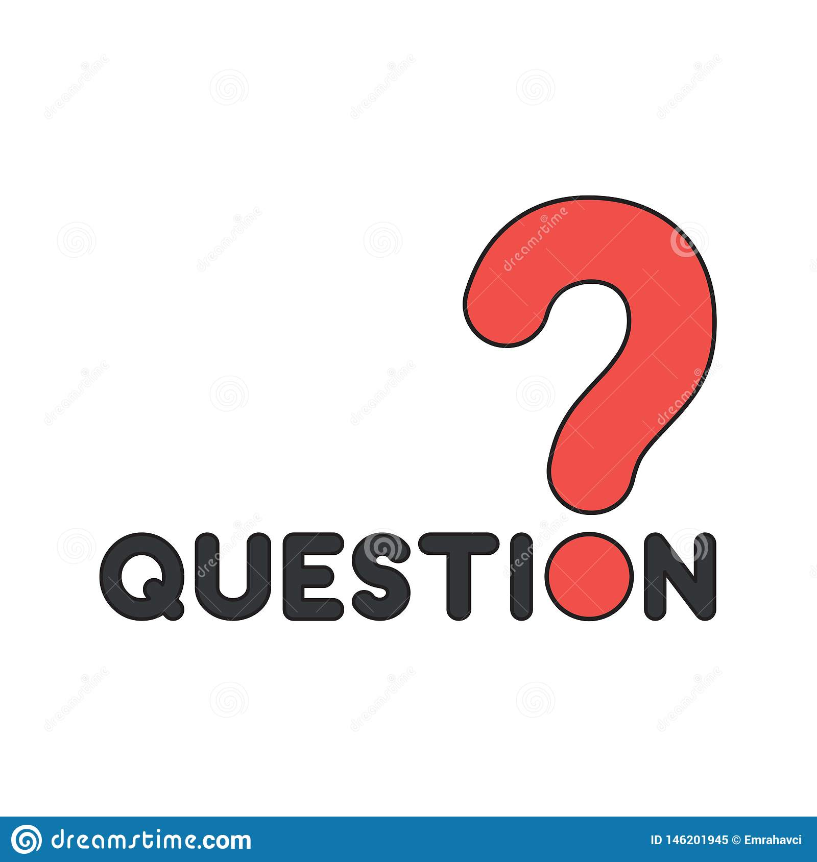 Vector Icon Concept Of Question Word Text With Question