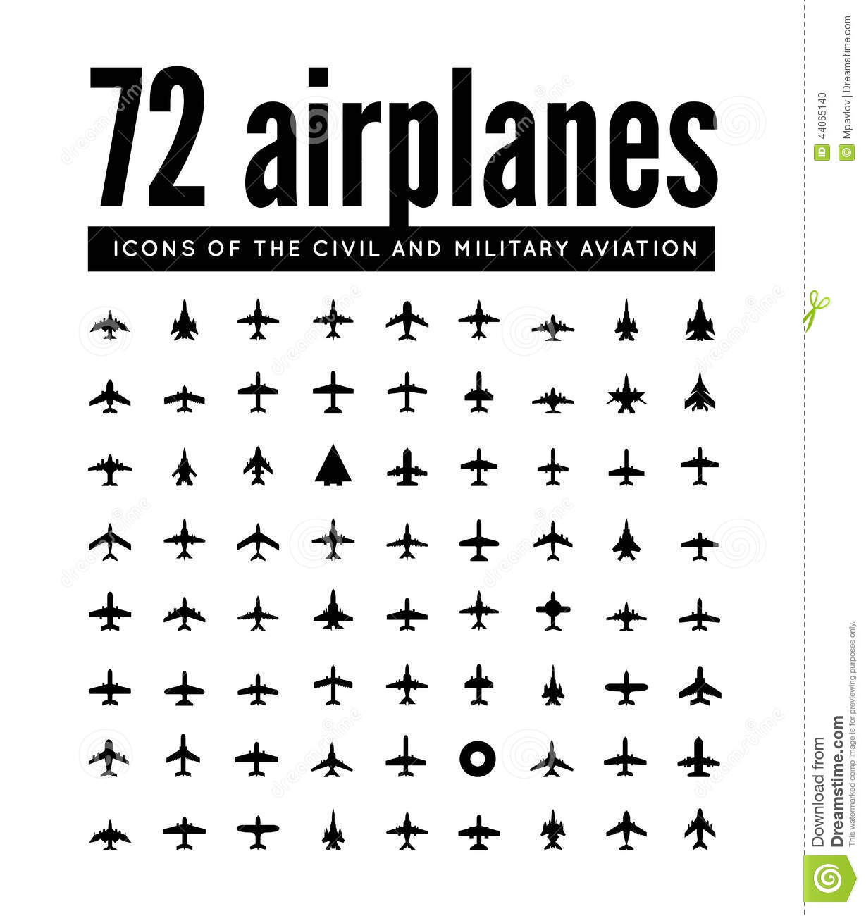 72 Vector Icons Of Airplanes Stock Vector
