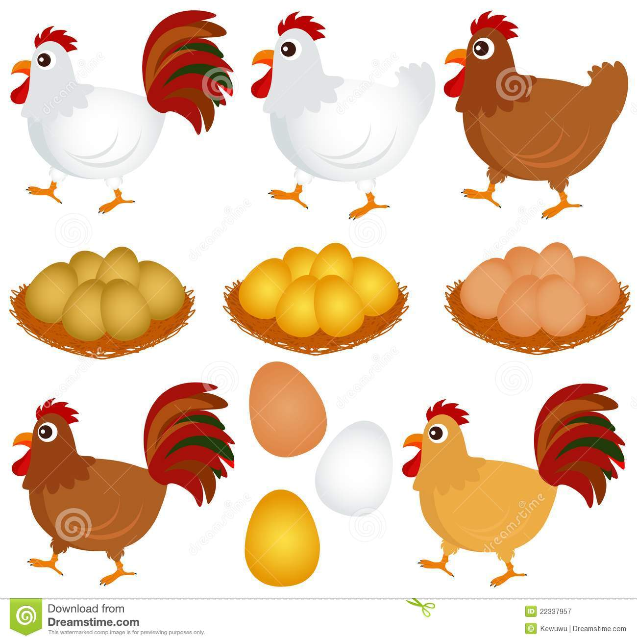 Vector Icons Chicken Hen Rooster Royalty Free Stock