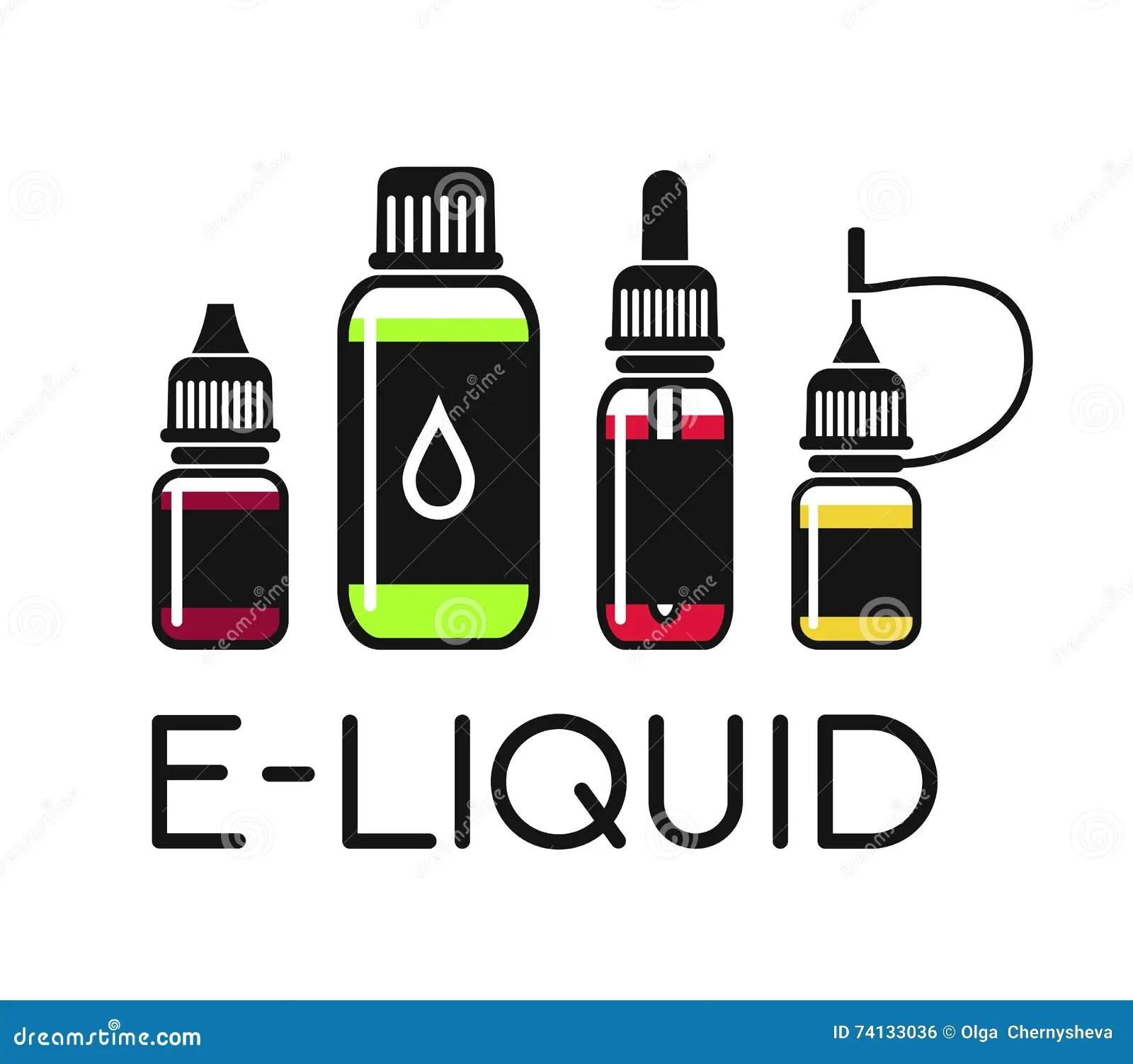 Vector Icons Of E Liquid Stock Vector Illustration Of