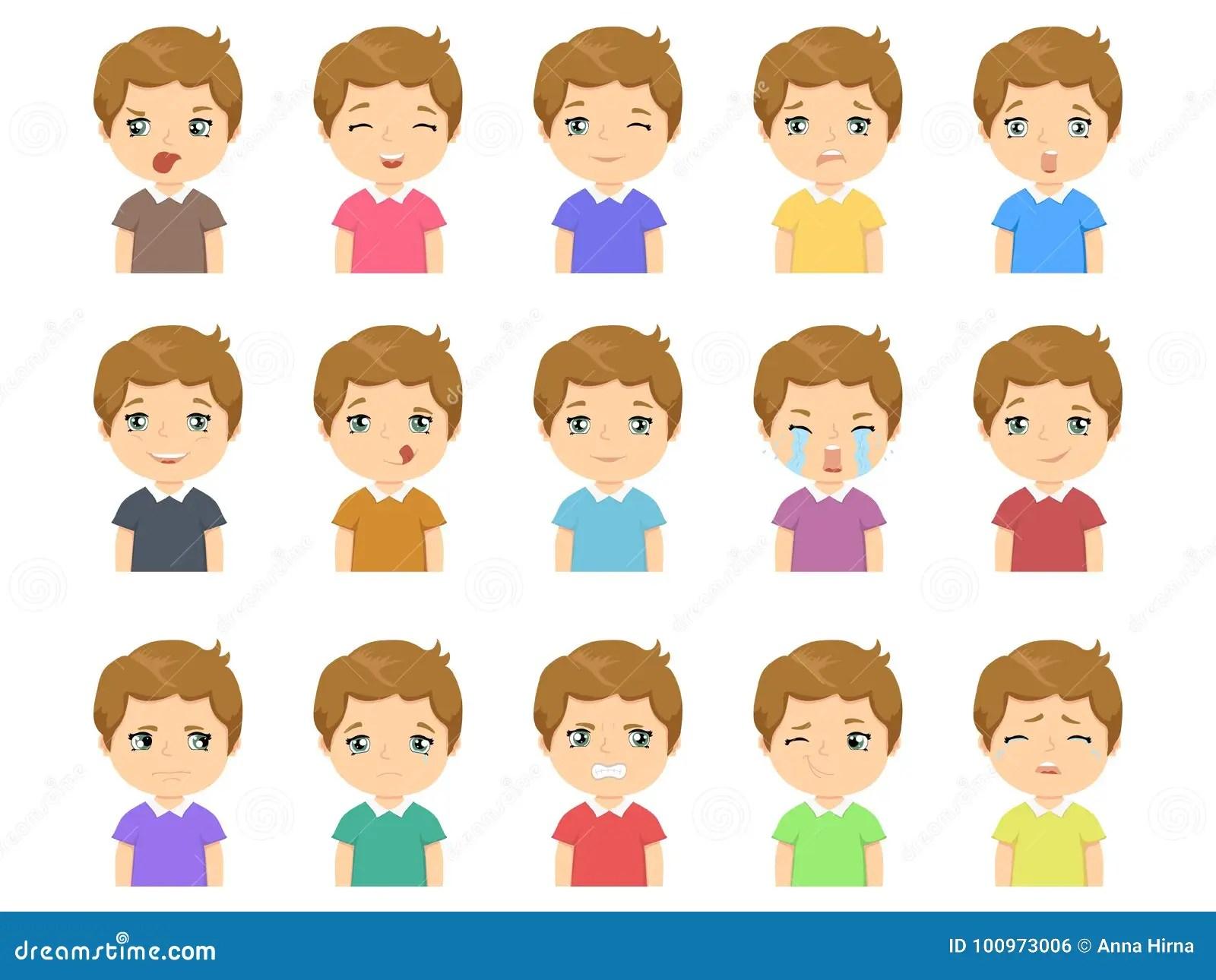 Set Of Cartoon Cute Caucasian Boy Face Emotions Stock