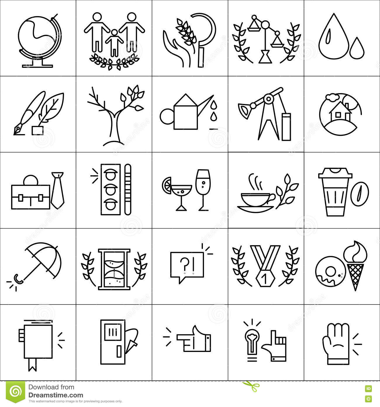 Vector Icons Set Isolated On White Background Stock