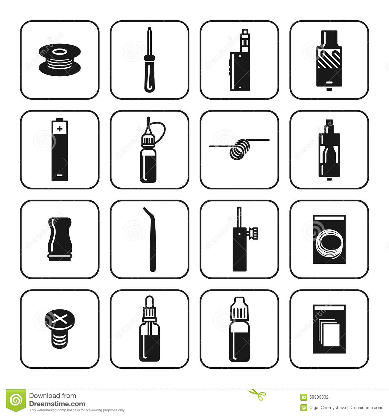 Vector Icons Set Of Vaporizer And Accessories Stock Vector