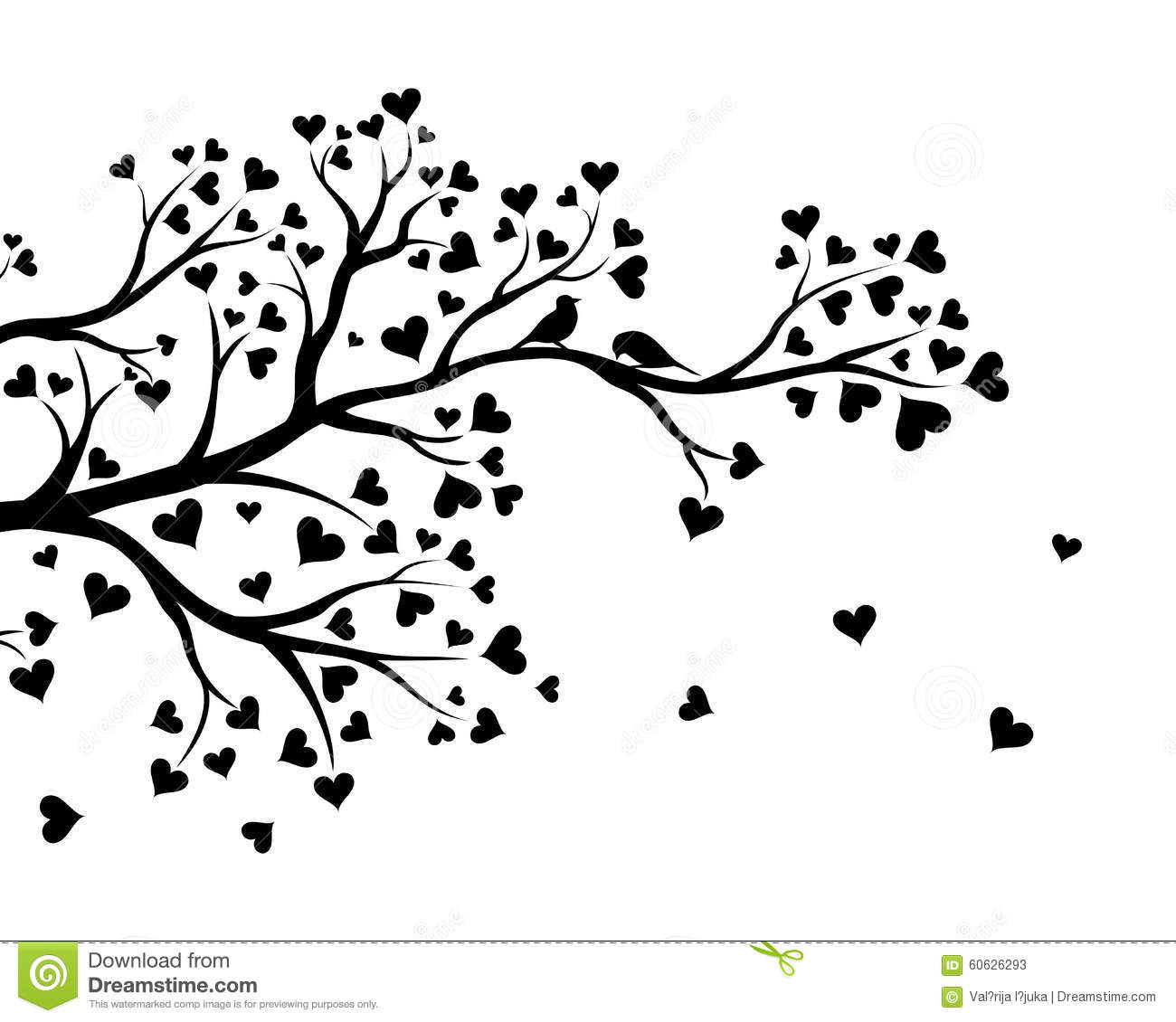 Vector Illustration Of Abstract Valentine Tree Branch With