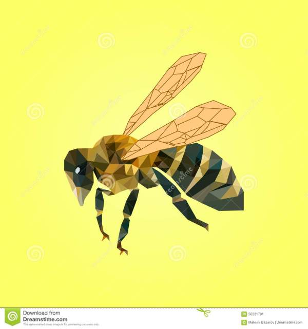 Vector Illustration Of Bee On Yellow Background Stock