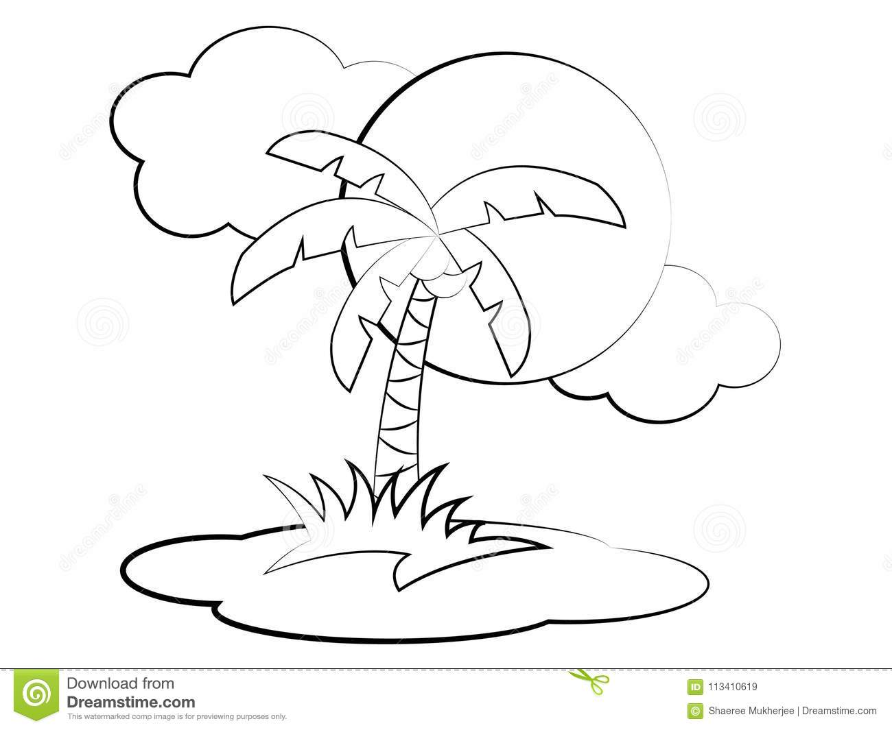 Vector Cartoon Palm Tree Coloring Page Stock Vector