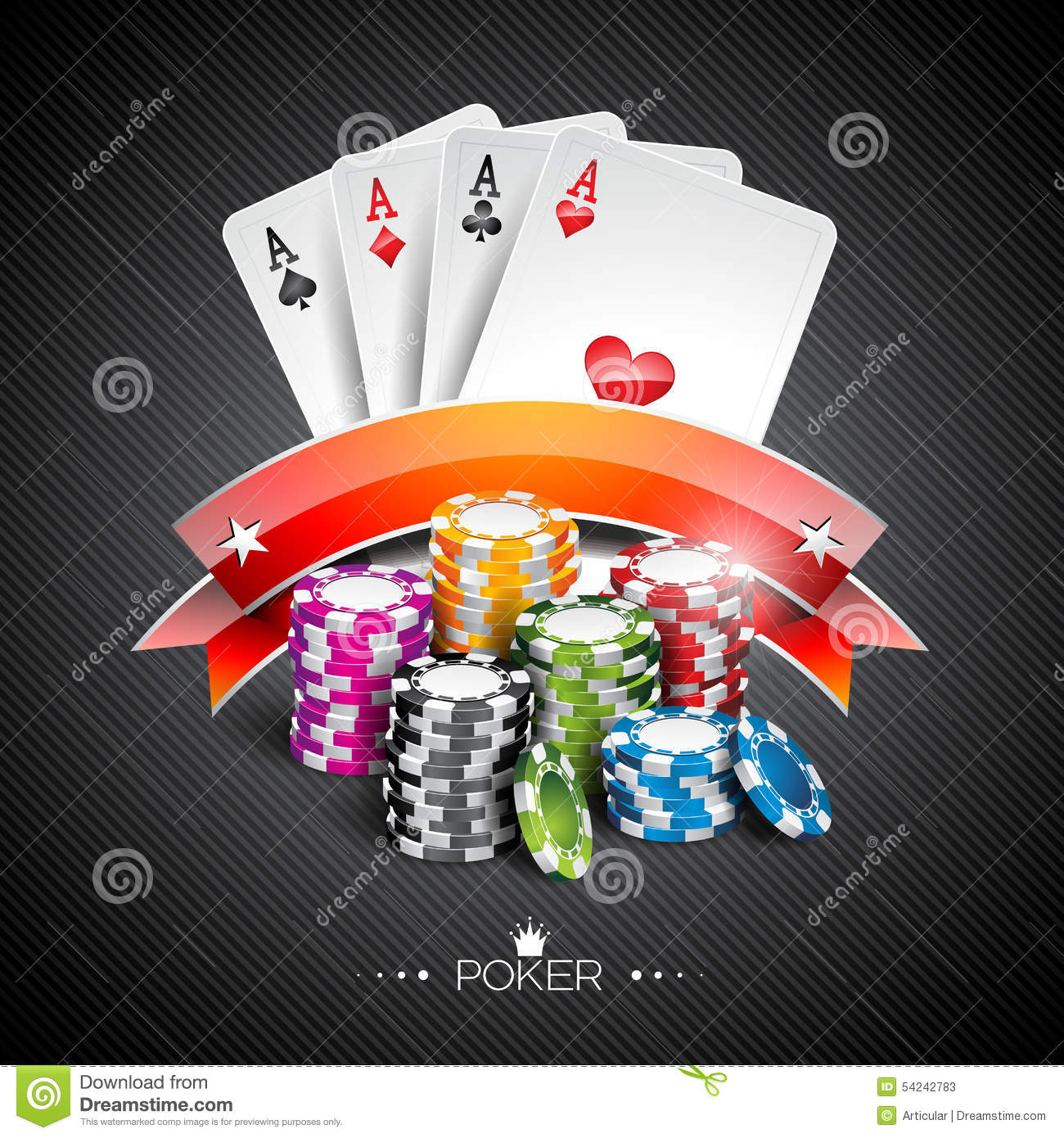 Vector Illustration On A Casino Theme With Color Playing