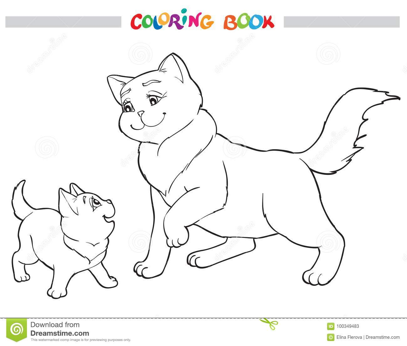 Vector Illustration Cat Mother With Kitten Coloring Book