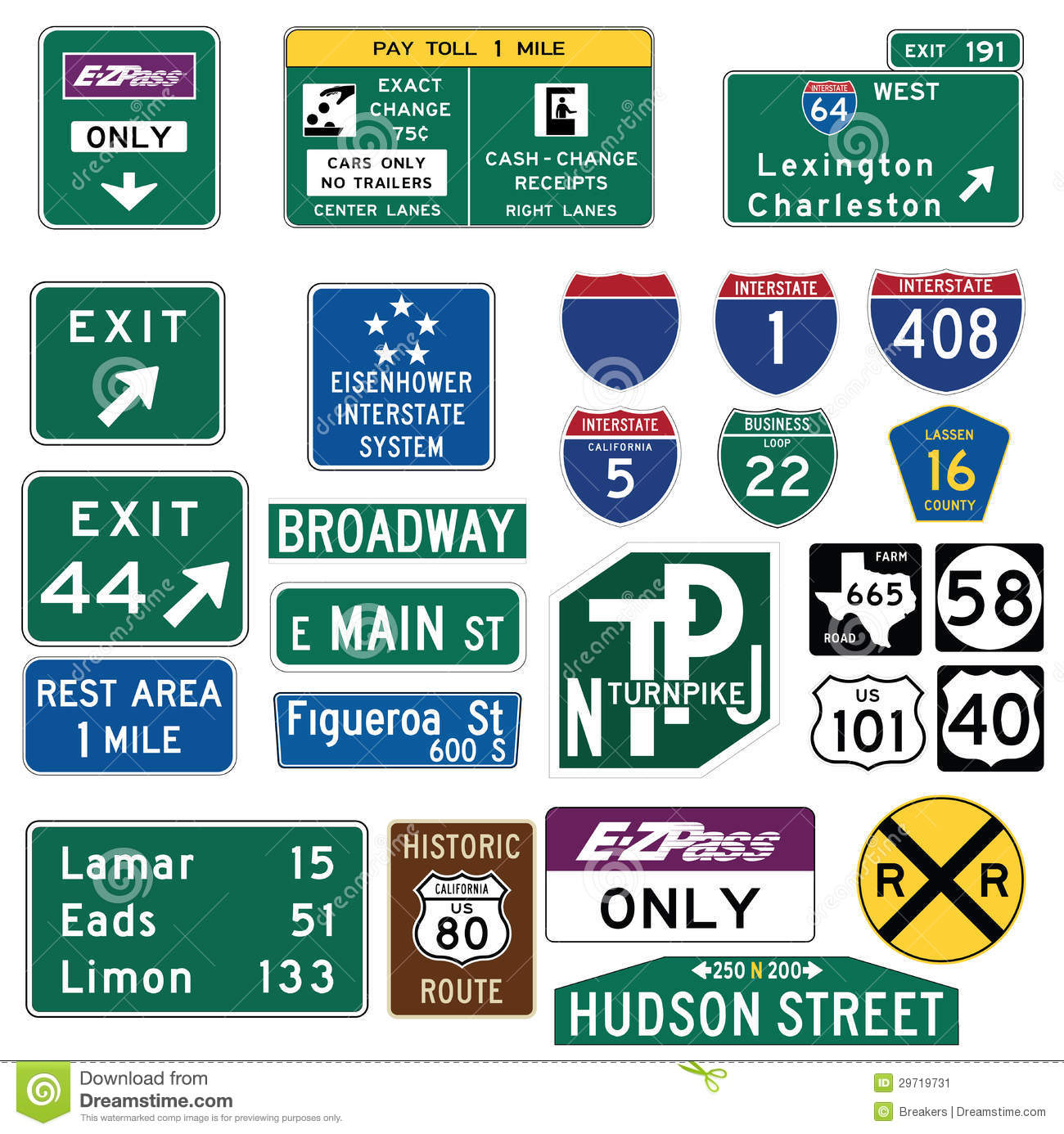 Traffic Guide Signs In The United States Stock Vector