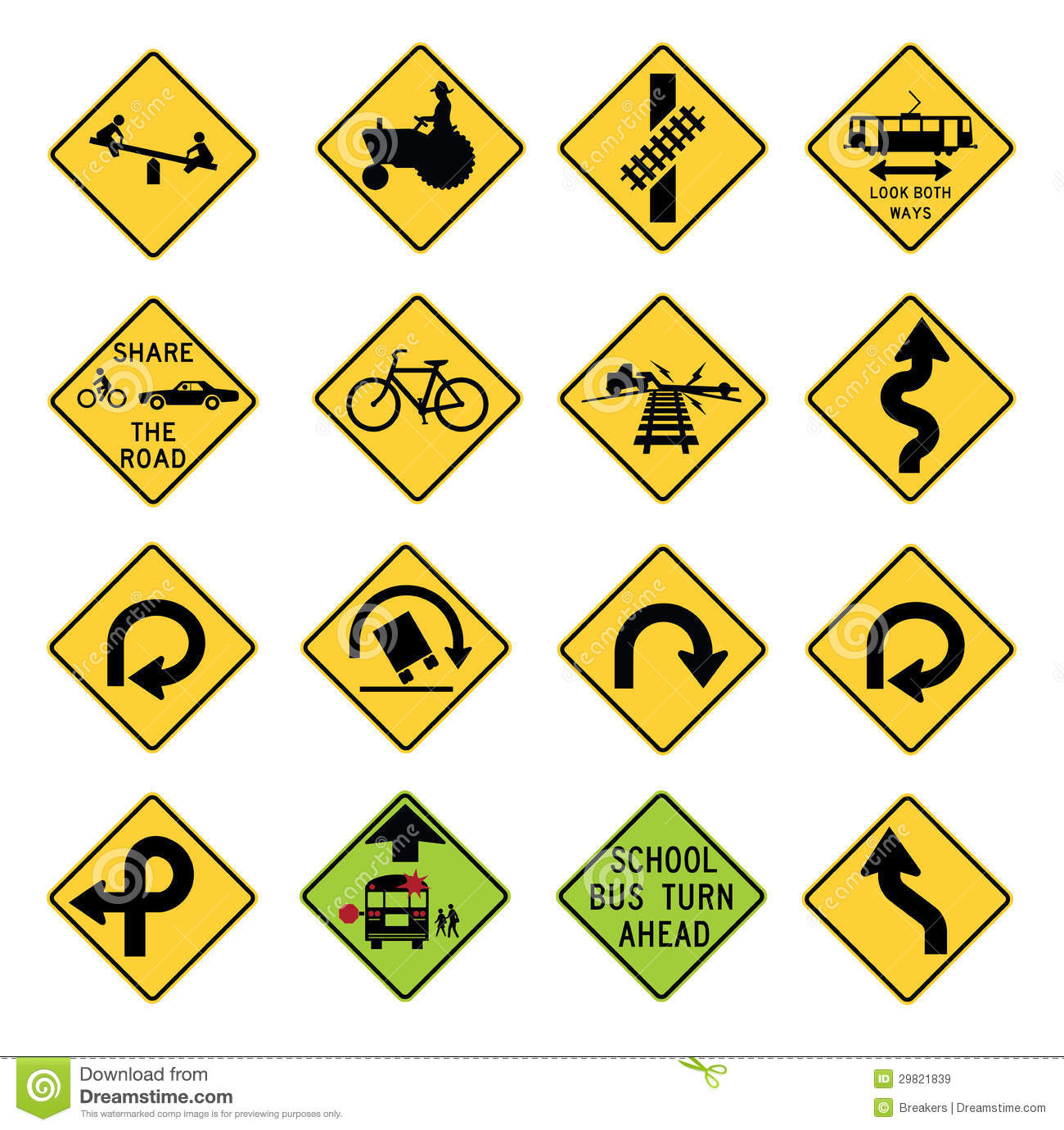 Traffic Warning Signs In The United States Stock Vector