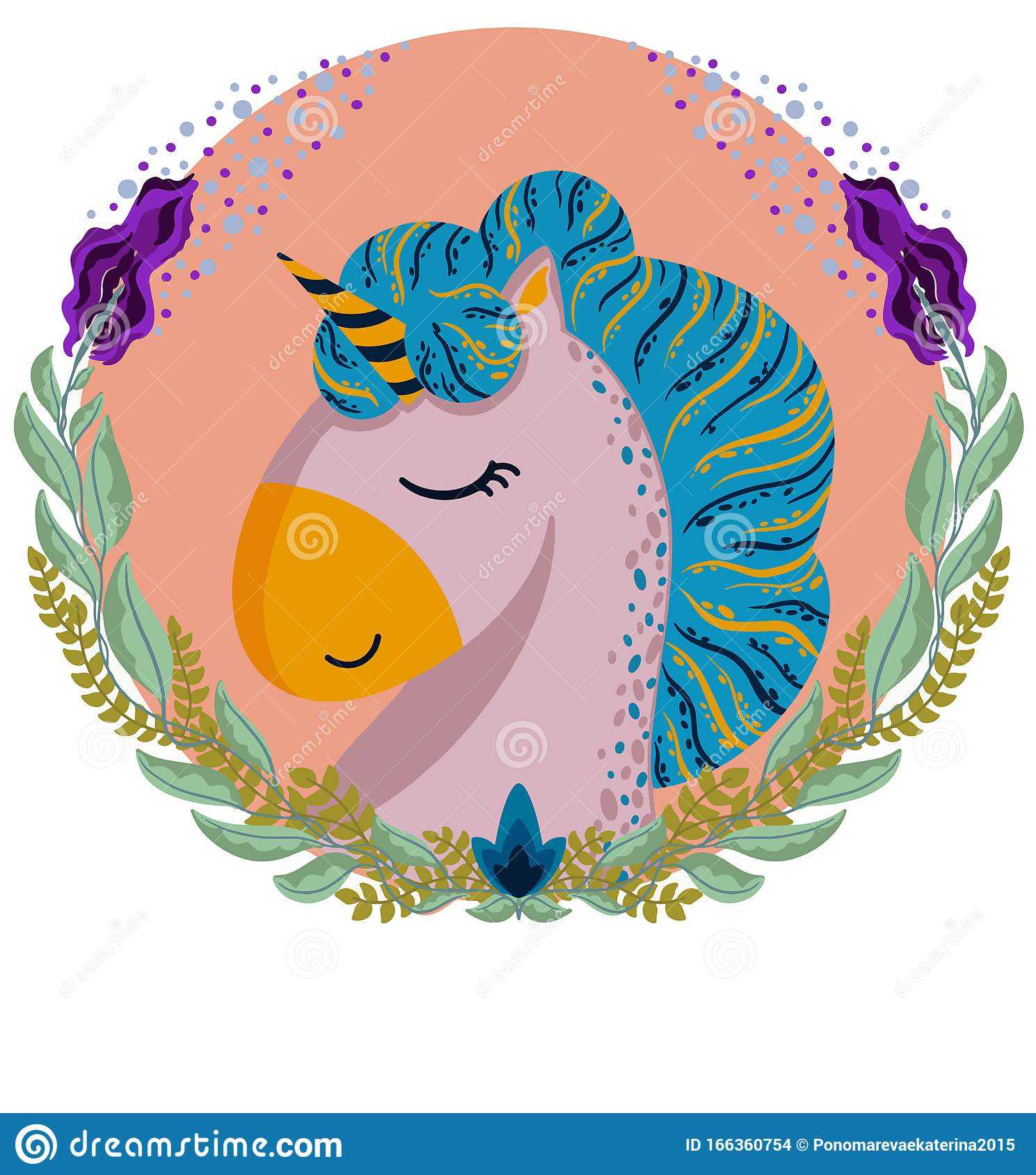 Unicorn Head In A Round Frame Stock Vector