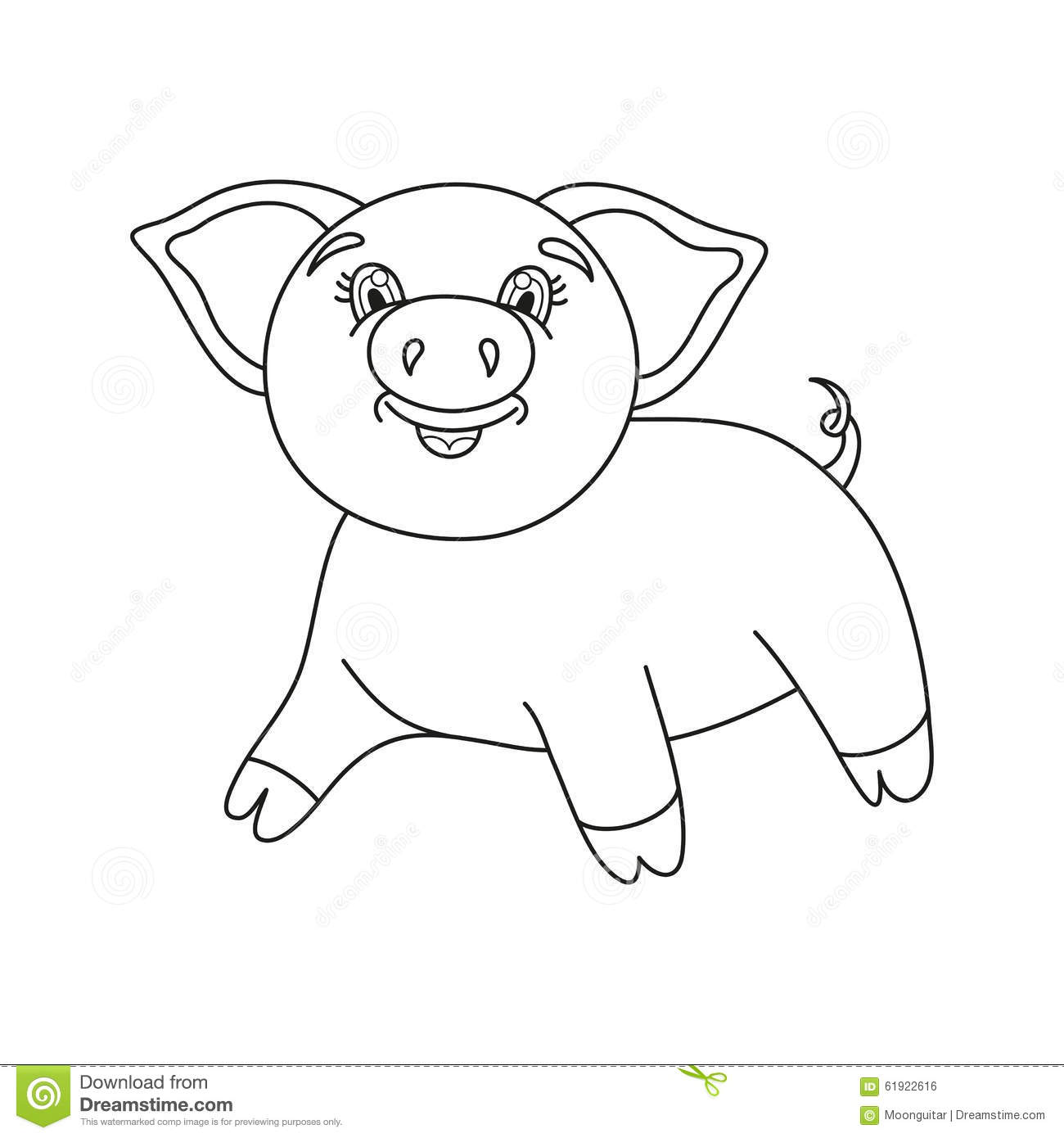 Vector Illustration Of Cute Pig Coloring Book Stock