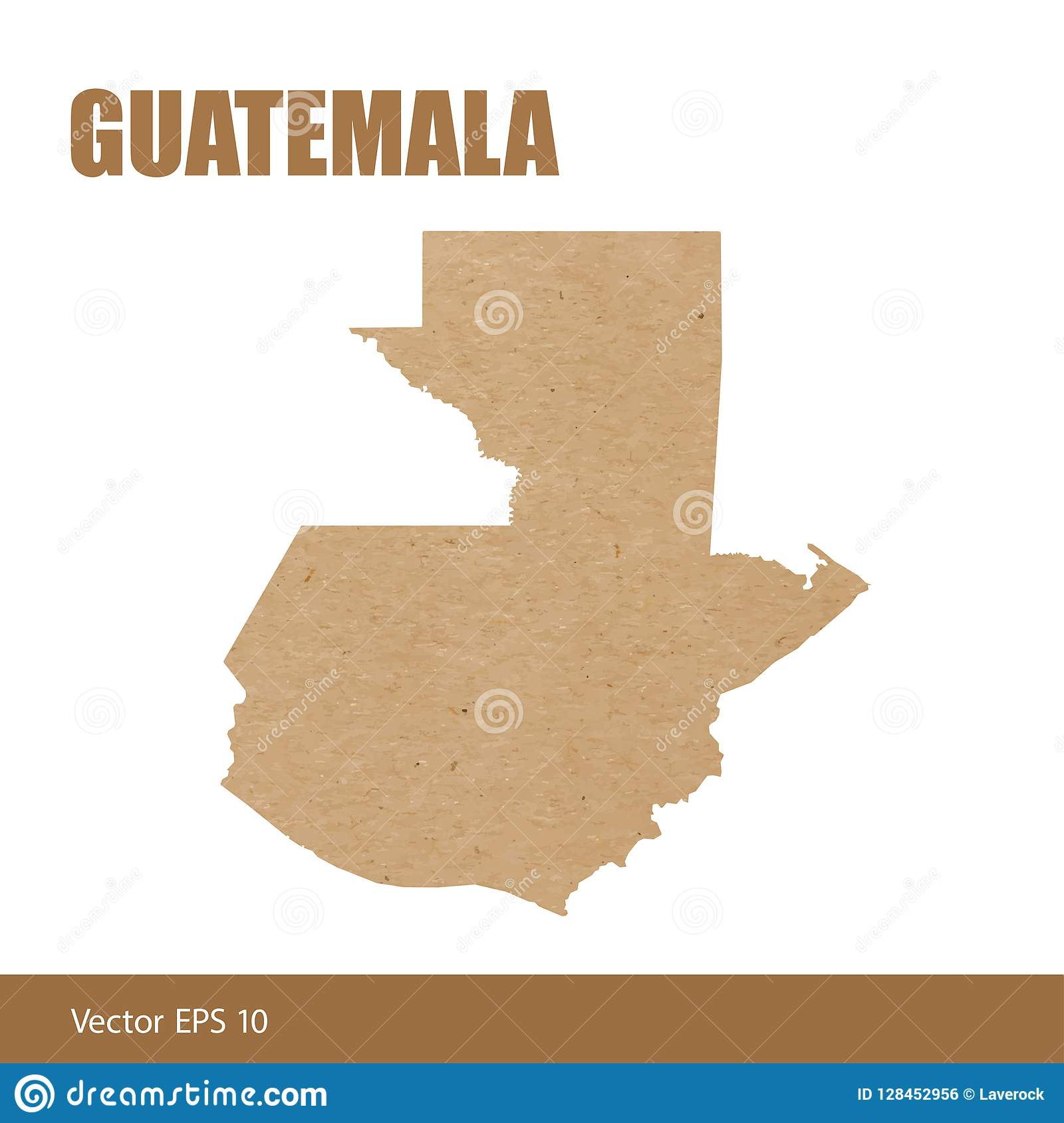 Detailed Map Of Guatemala Cut Out Of Craft Paper Stock