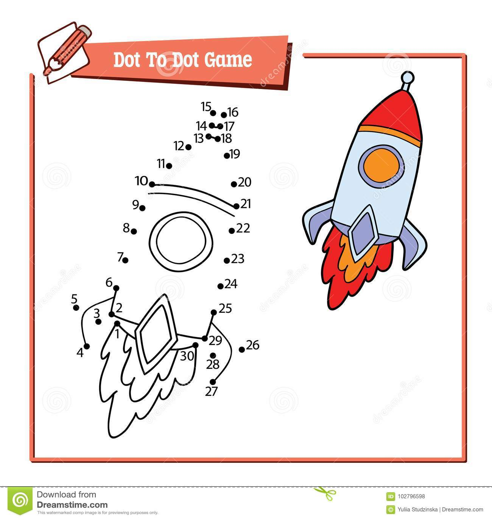 Dot To Dot With Cartoon Rocket Stock Vector