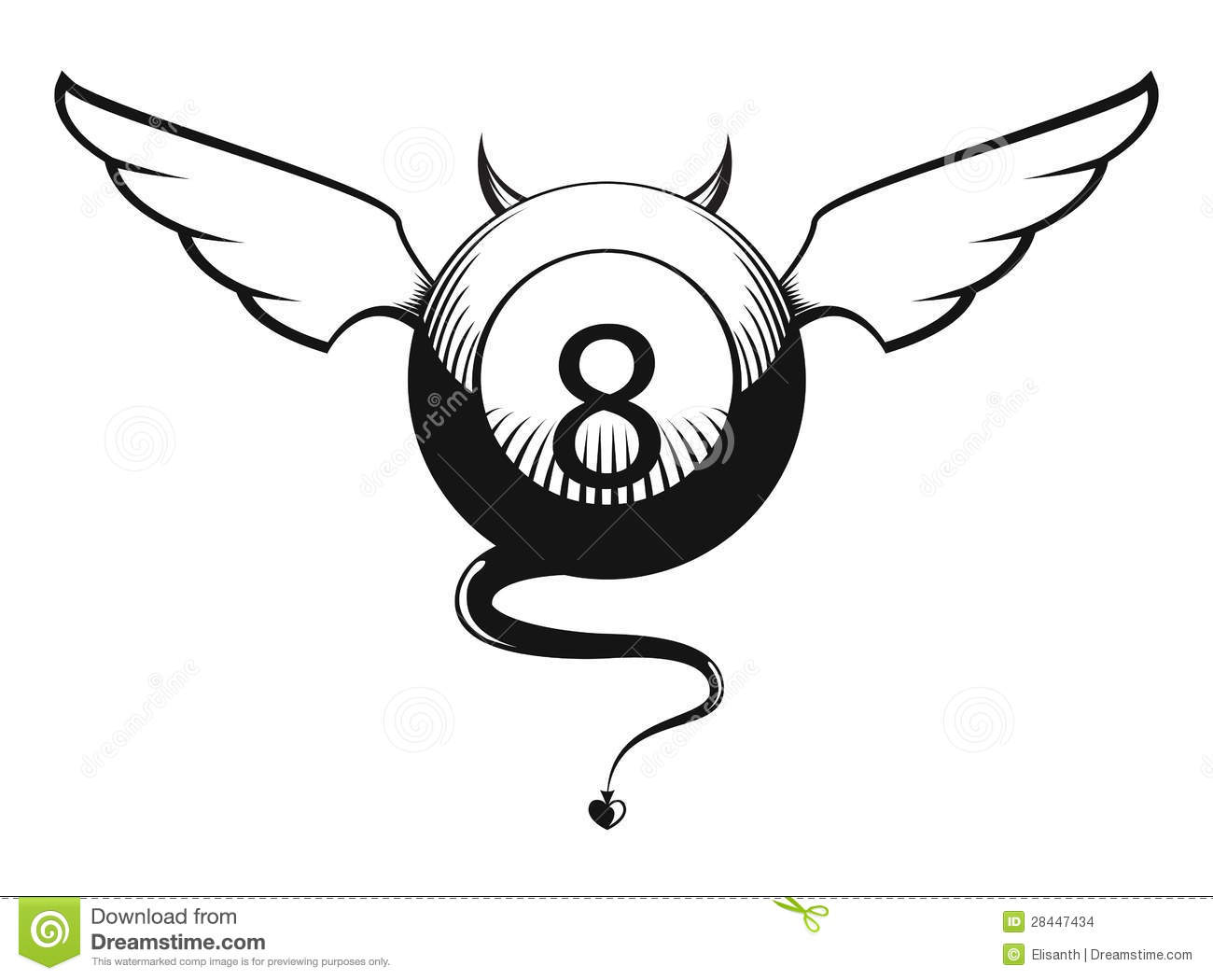 Vector Illustration Of Eight Ball With Horns And Tail