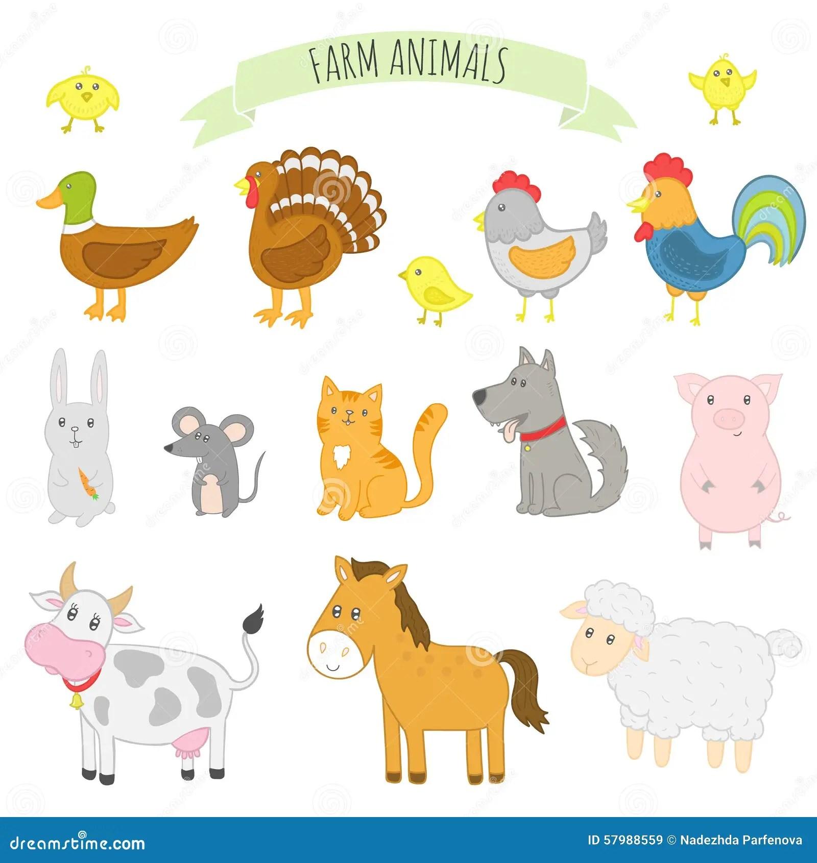 Vector Illustration Of Farm Animals Stock Vector