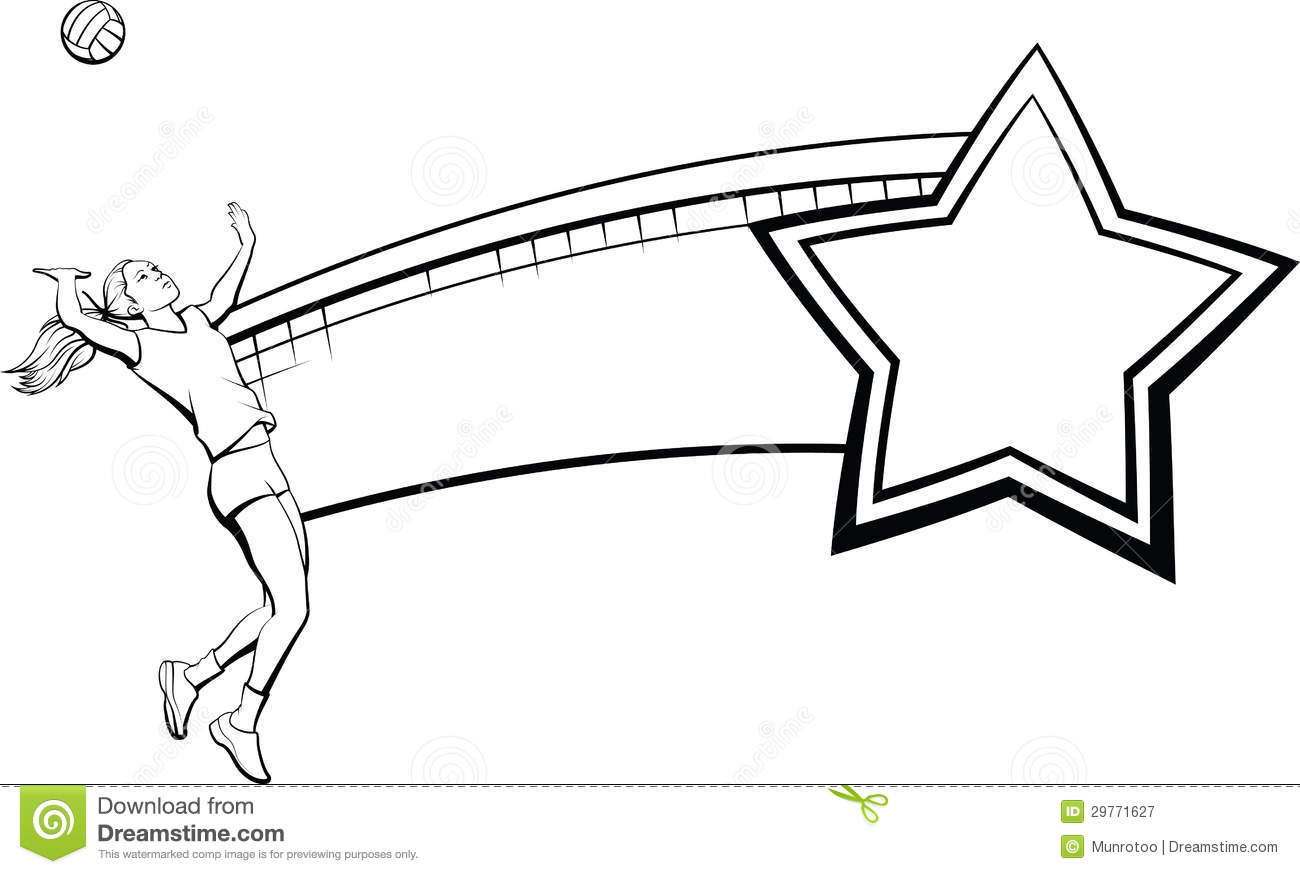 Female Volleyball Player Net And Star Royalty Free Stock