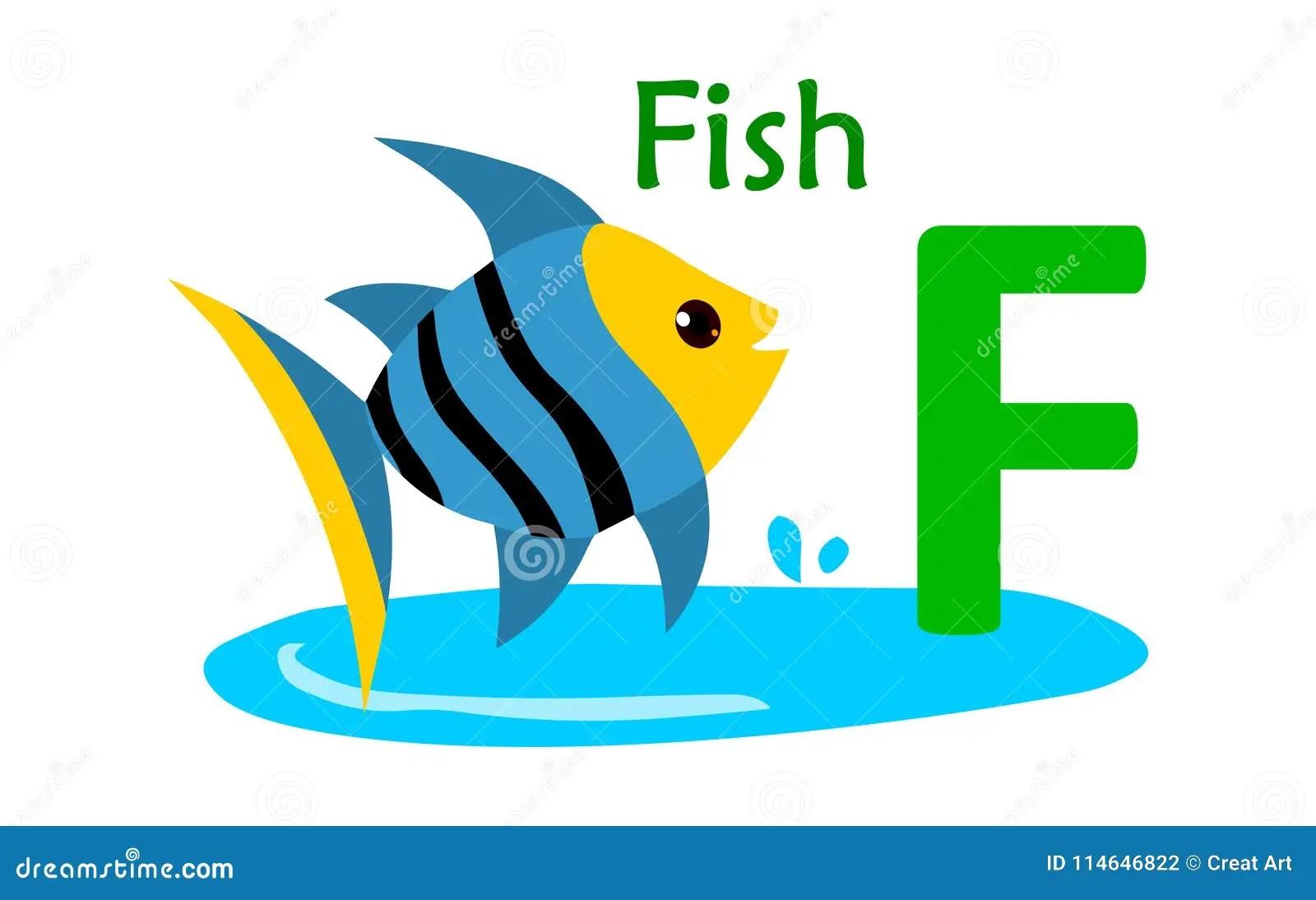 Animal Alphabet F F For Fish Stock Vector
